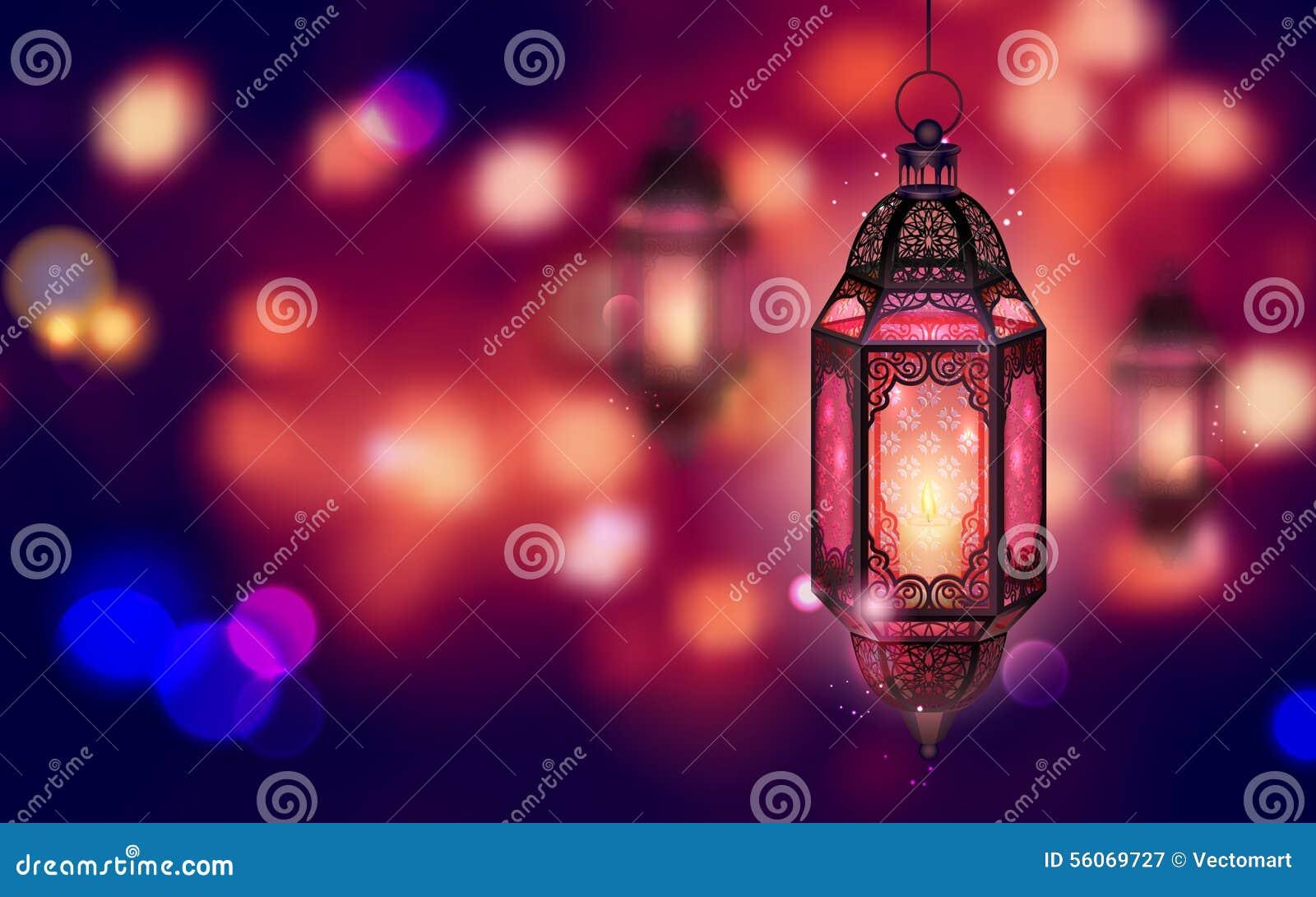 Iluminująca lampa na Ramadan Kareem tle