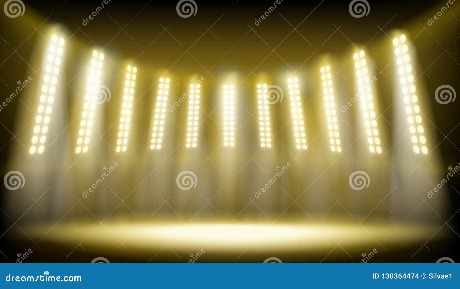 Iluminująca scena na stadium również zwrócić corel ilustracji wektora