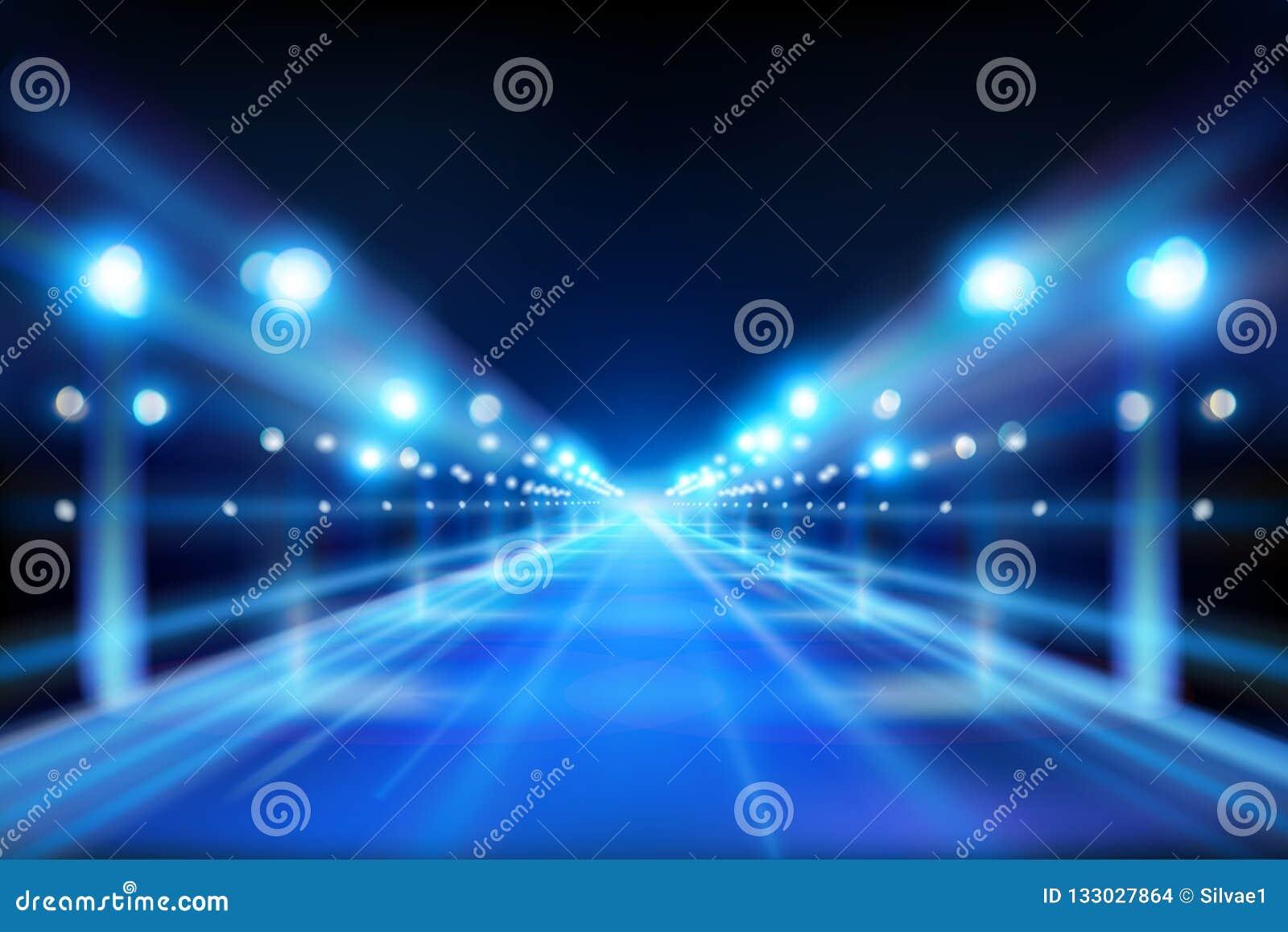 Iluminująca ulica Miasto przy nocą również zwrócić corel ilustracji wektora