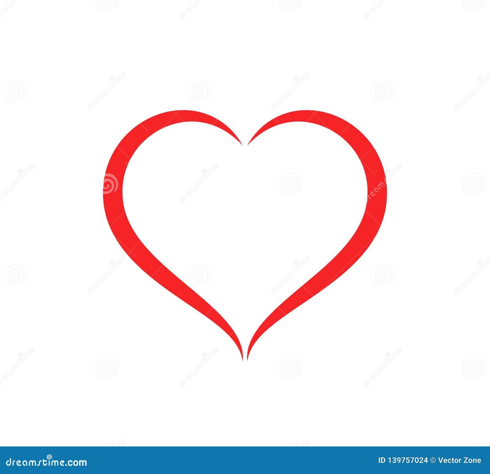 Ilustração abstrata do vetor do cuidado do esboço da forma do coração Ícone vermelho do coração no estilo liso