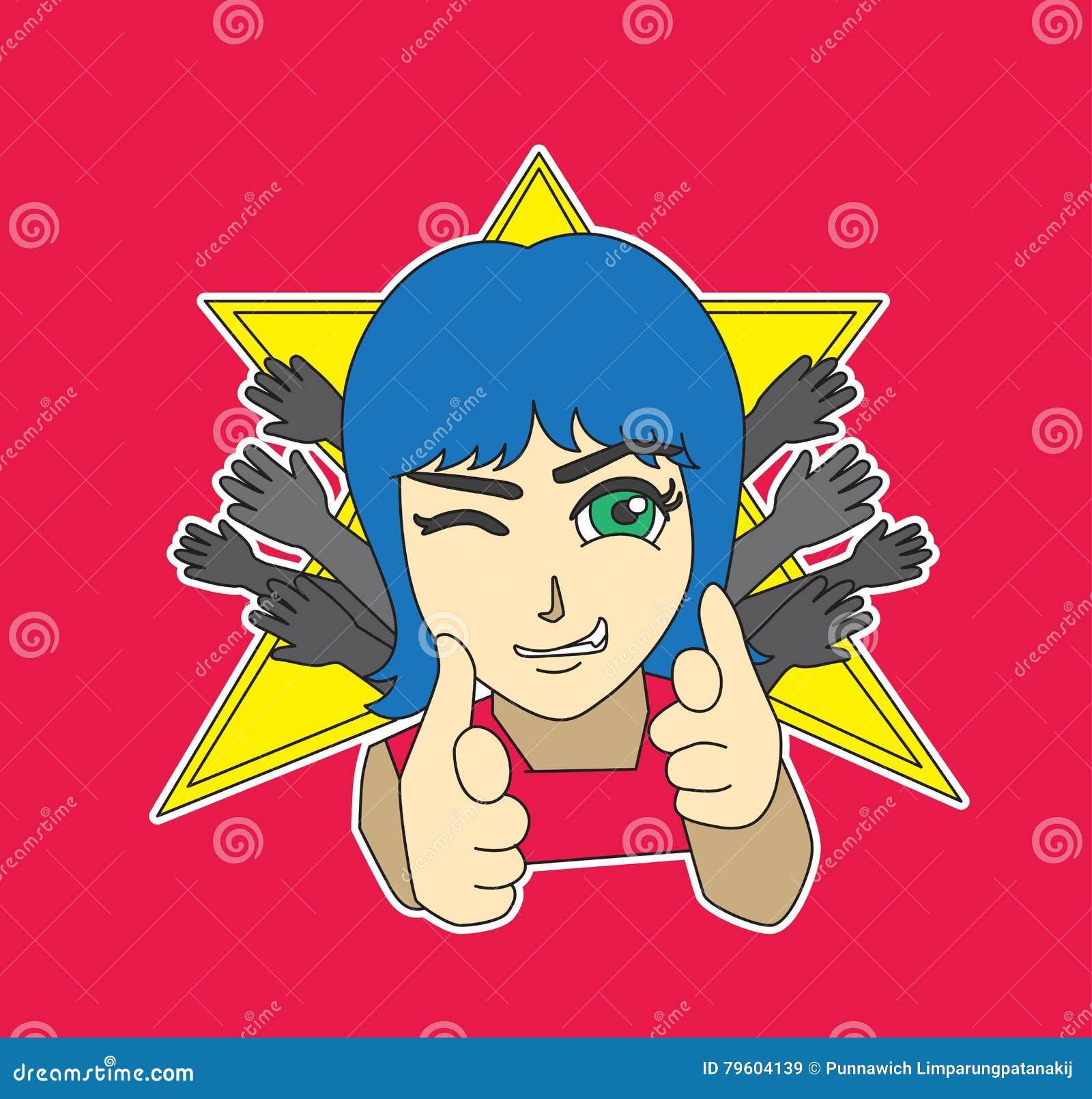 Ilustração adolescente do vetor dos desenhos animados da etiqueta do caráter da estrela