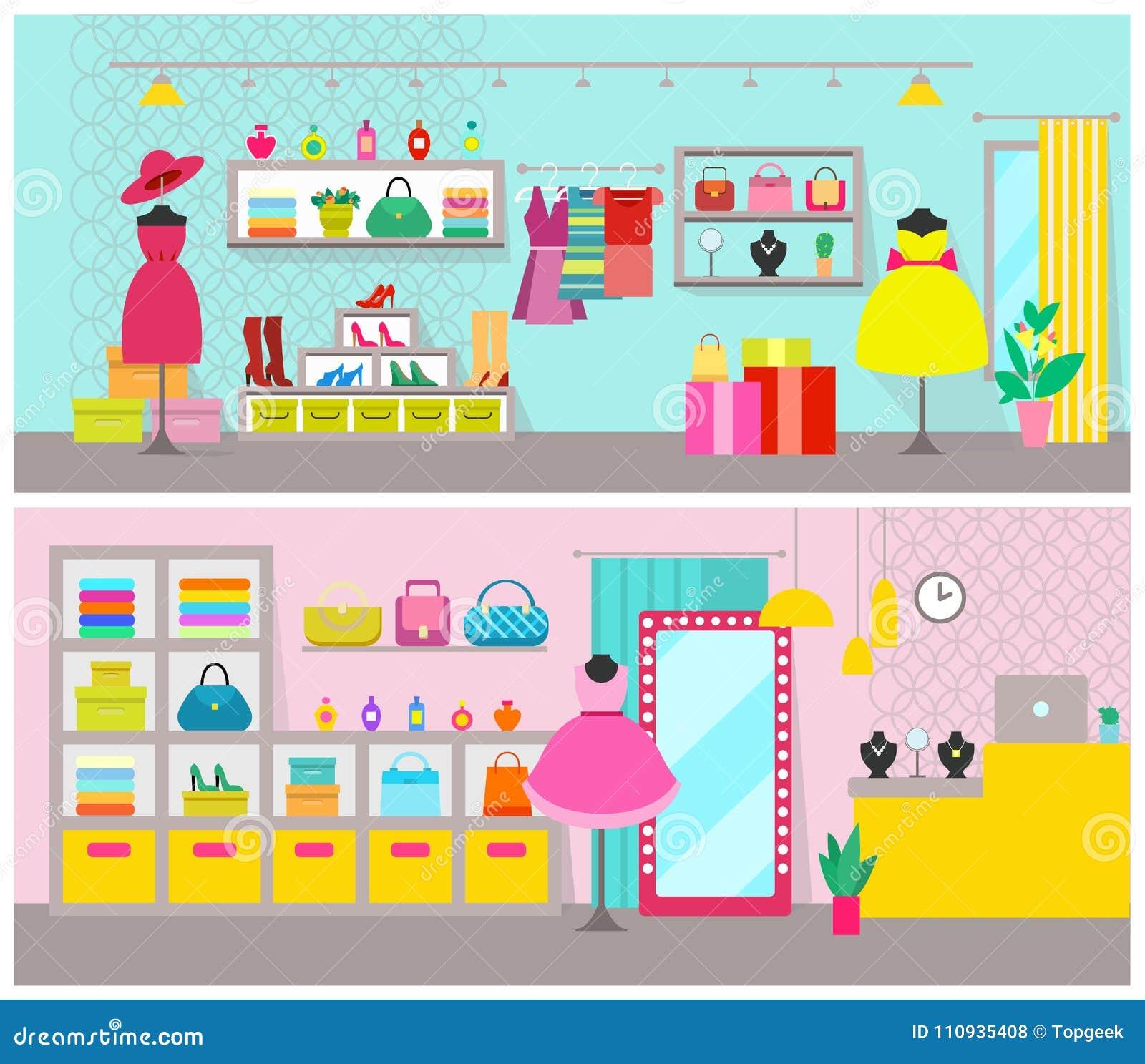 Os cartazes da loja de roupa ajustaram-se com os artigos criados para  mulheres a60b8b1b84b