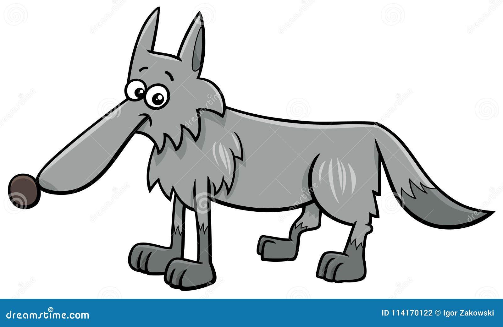 Ilustração animal dos desenhos animados do caráter do lobo cinzento