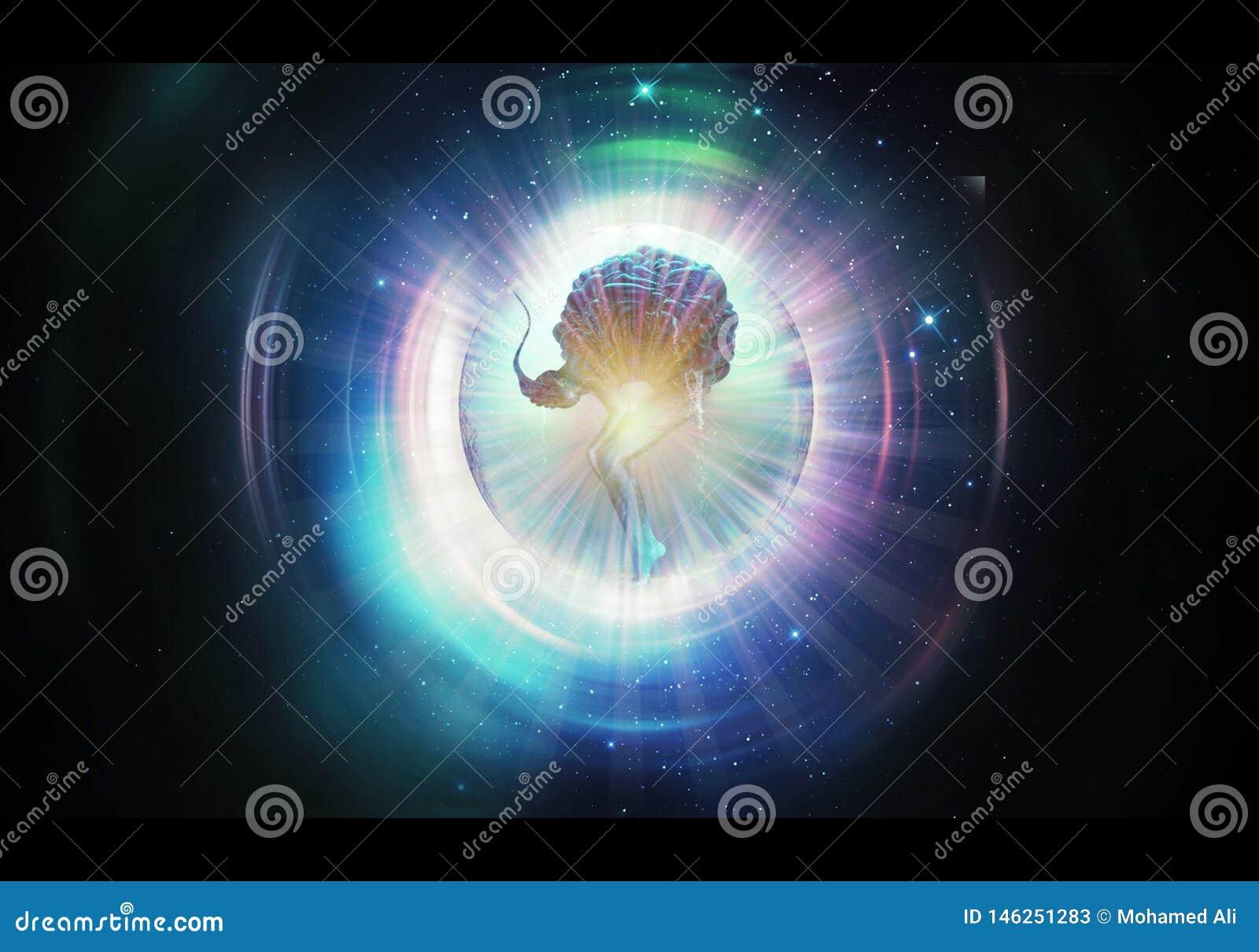 Ilustração artística abstrata da rendição 3d de uma meditação original da ioga em alguma outra dimensão