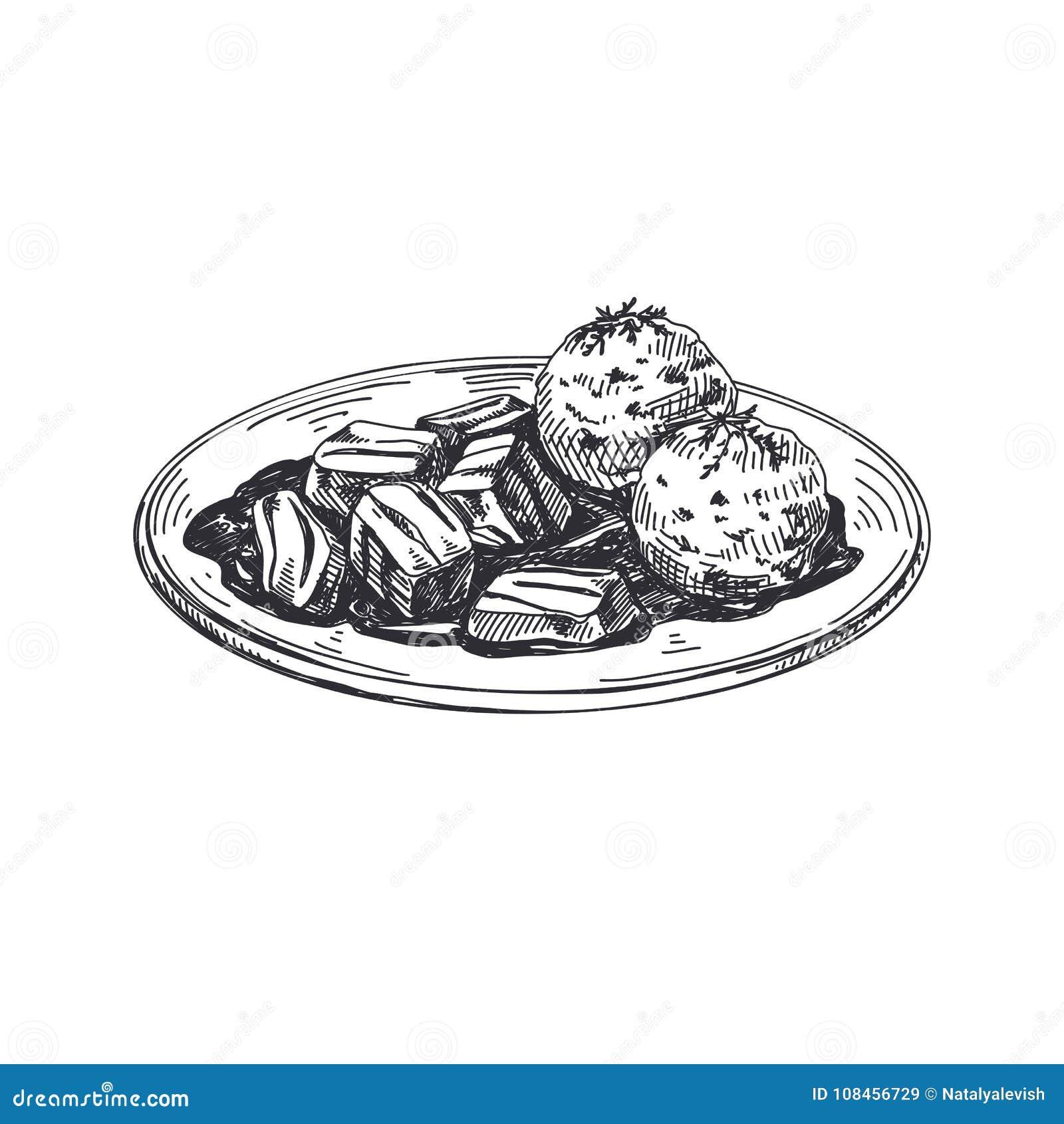 Ilustração austríaca tirada do alimento do vetor mão bonita