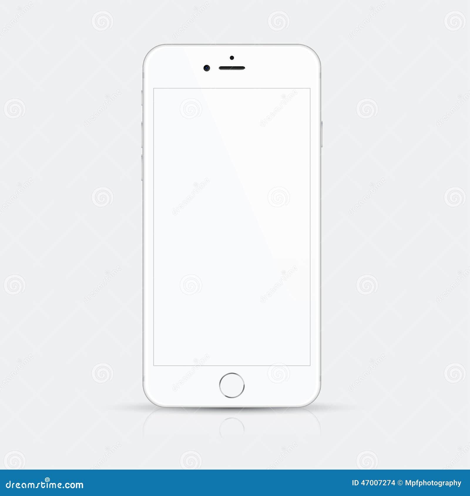 Ilustração branca do vetor do smartphone com detalhes de alta qualidade