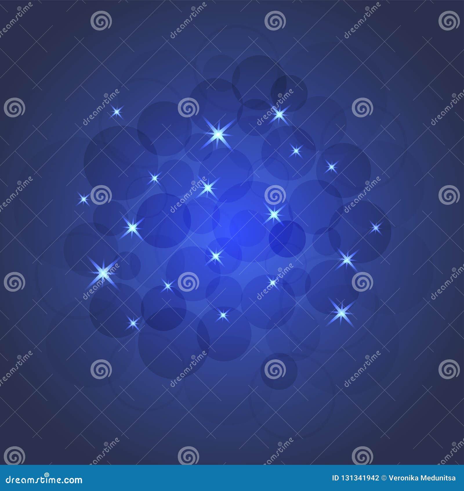 Ilustração brilhante das estrelas e dos sparkles, cartão