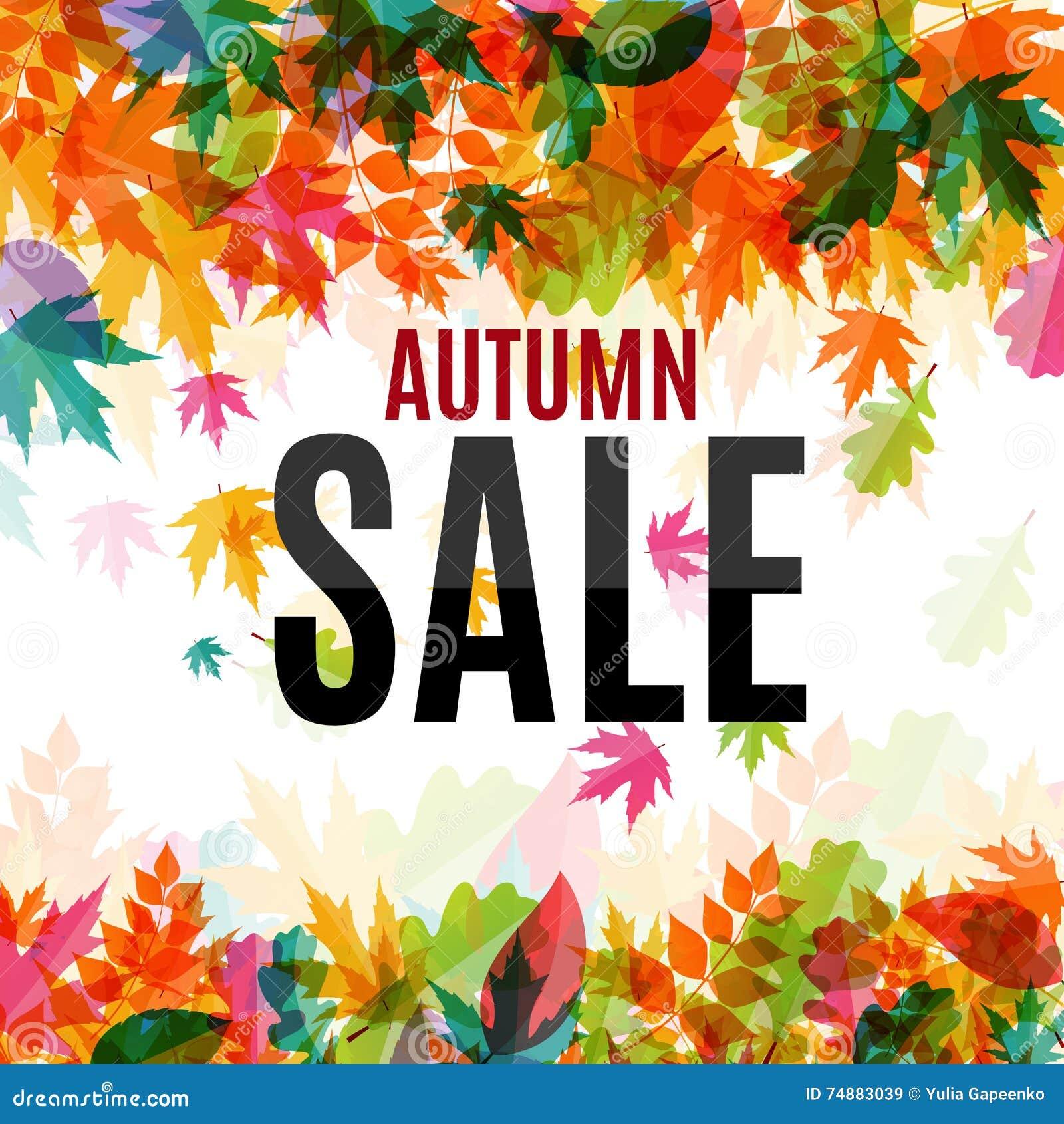 Ilustração brilhante de Autumn Leaves Sale Background Vetora