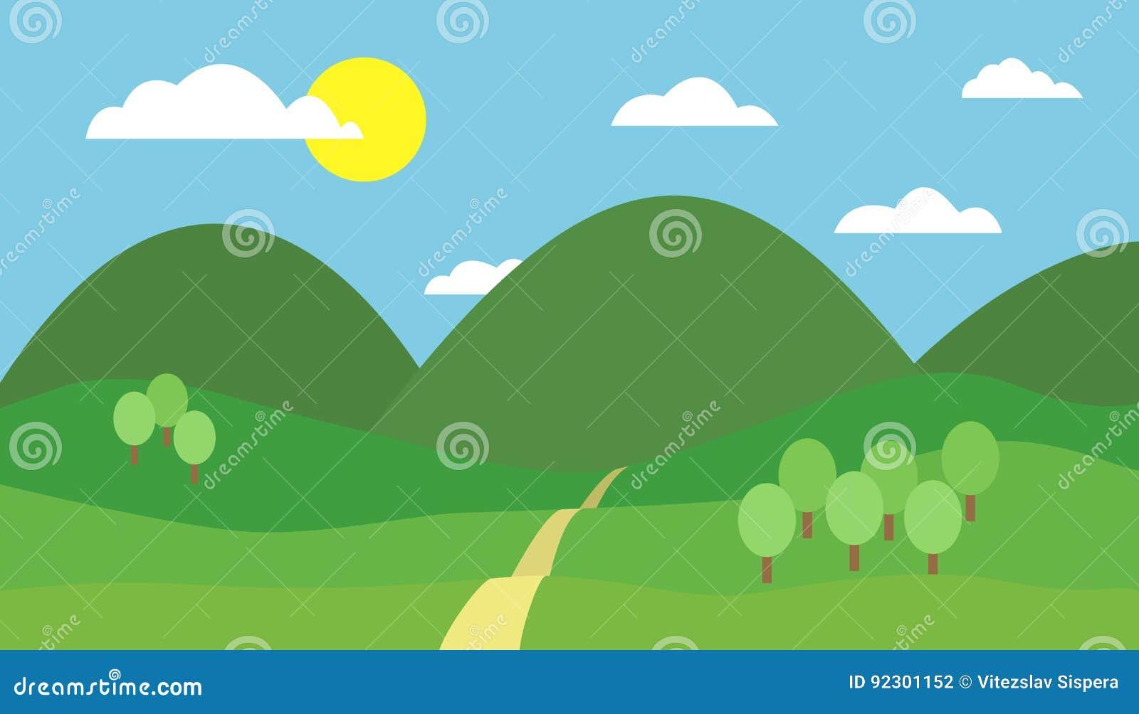 Ilustracao Colorida Dos Desenhos Animados Da Paisagem Da Montanha