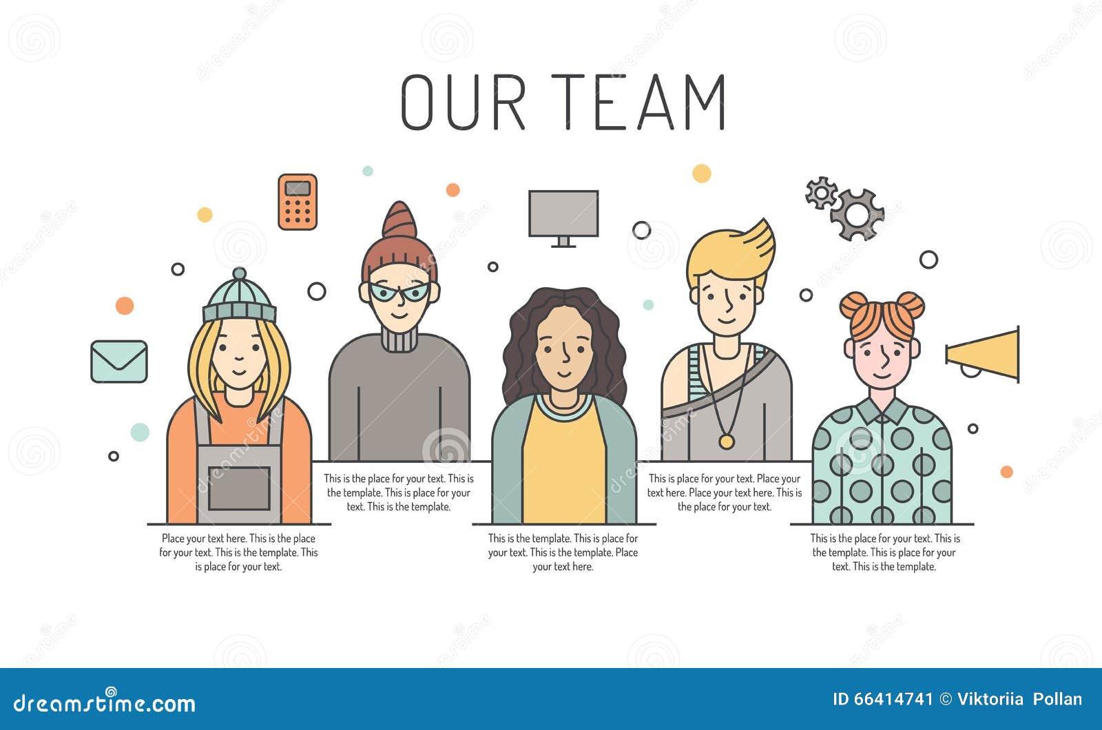 Ilustração colorido da equipe do trabalho do vetor das mulheres Conceito de projeto do negócio Projeto de Minimalistic