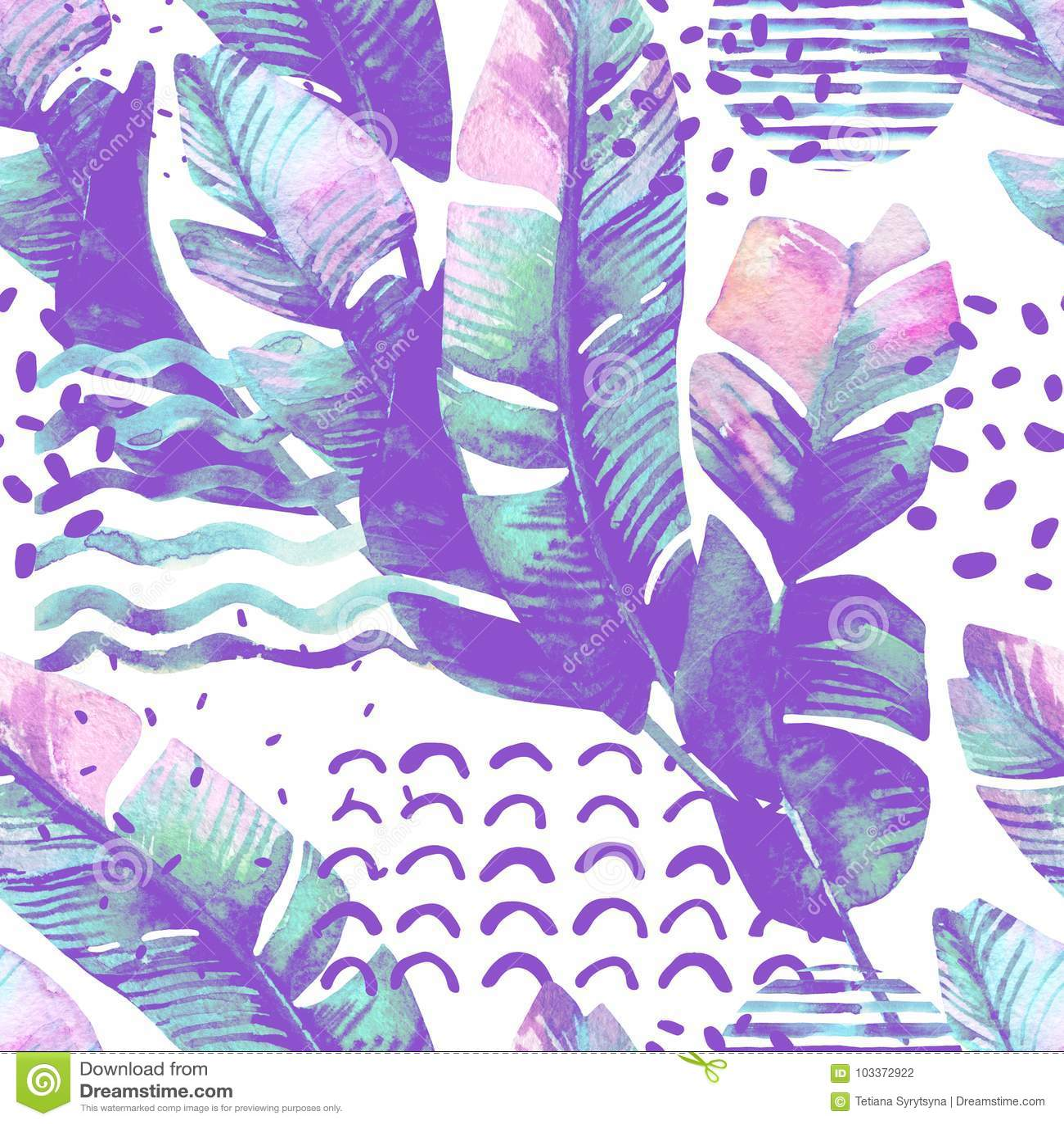 Ilustração com folhas tropicais, garatuja da arte, texturas do grunge, formas geométricas em cores da baunilha