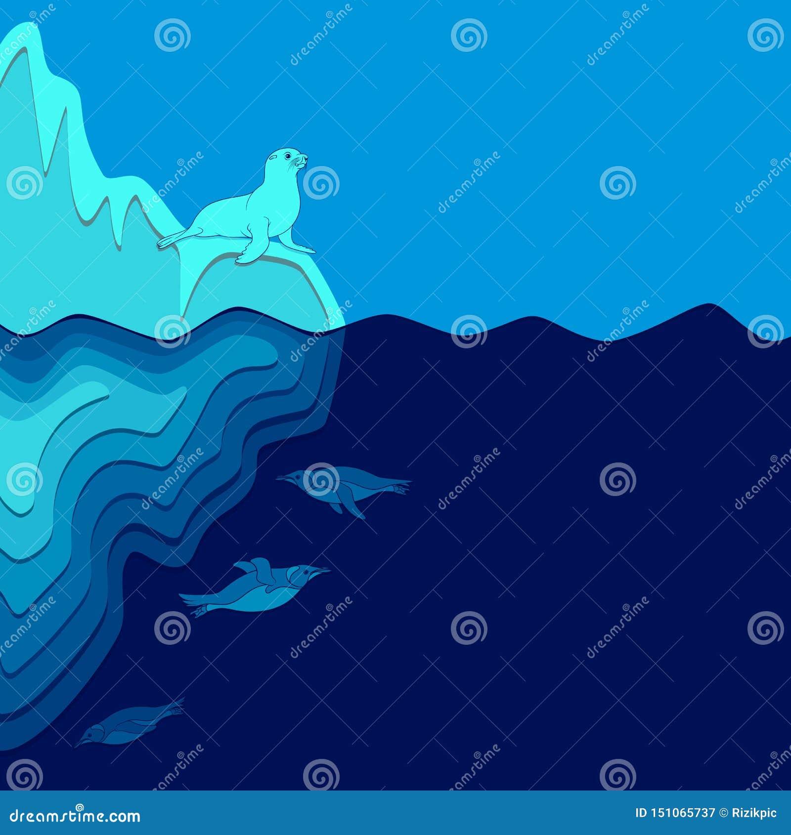 Ilustração com iceberg, lobo-marinho e pinguins O vetor coloriu o fundo
