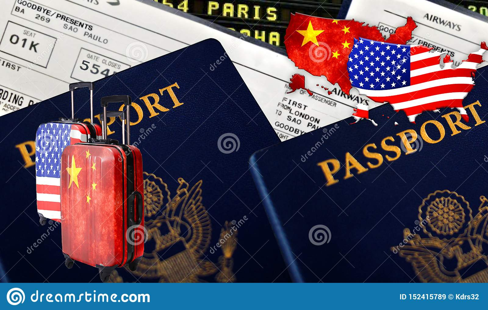 Ilustração com os dois passaportes estrangeiros, duas malas de viagem; com o chinês China e com bandeiras americanas, bilhetes e