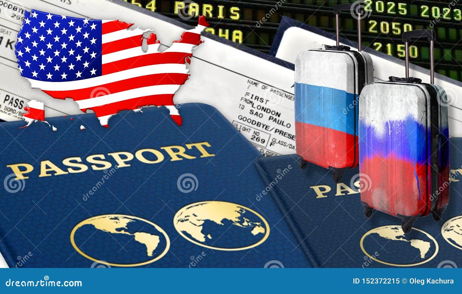 Ilustração com os dois passaportes internacionais, duas malas de viagem com bandeiras do russo, bilhetes e a bandeira dos EUA sob