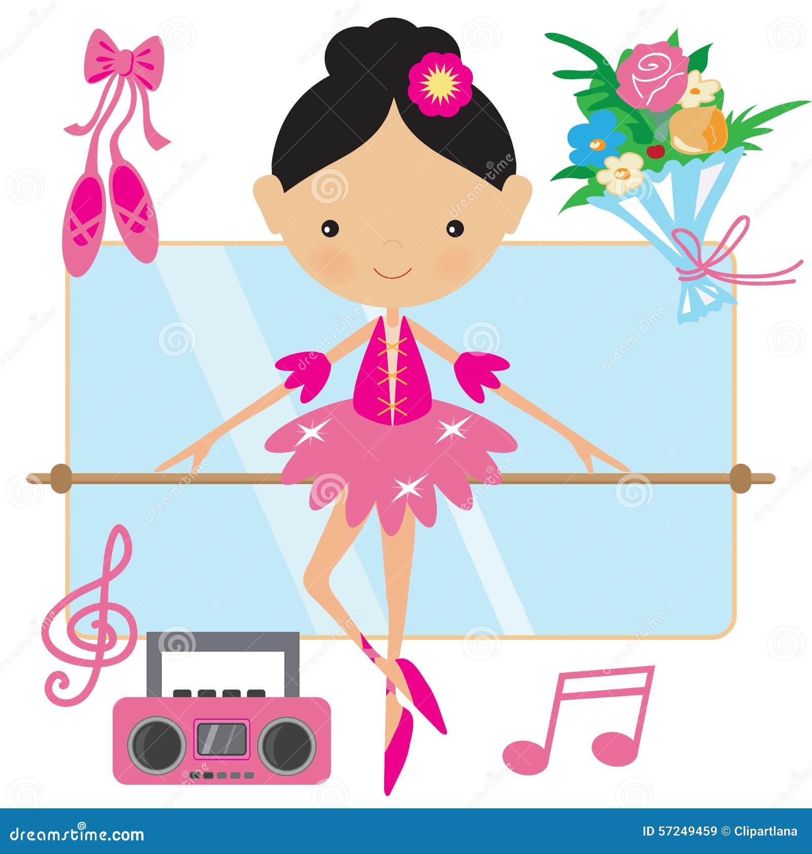 Ilustração cor-de-rosa bonito do vetor da bailarina