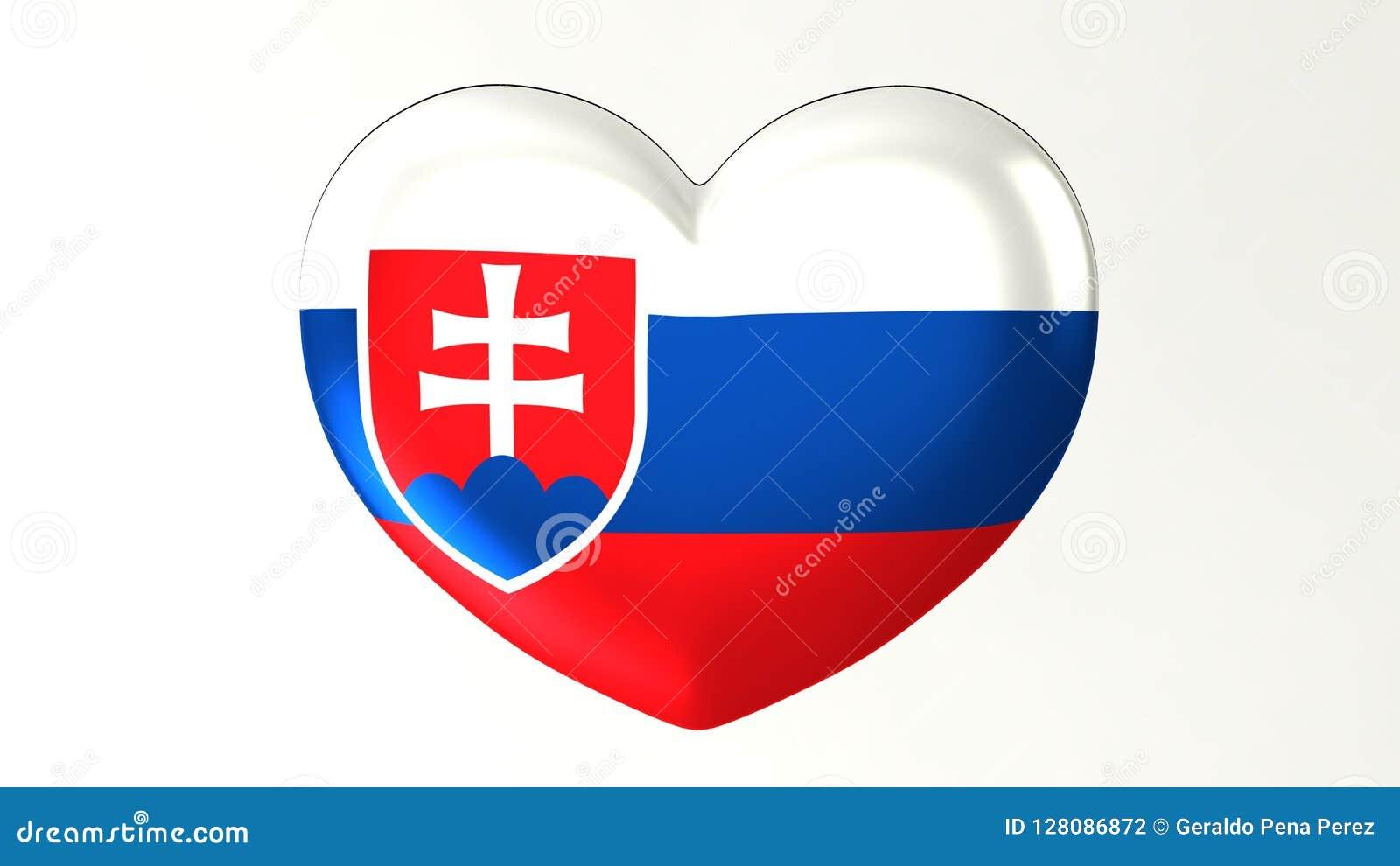 Ilustração Coração-dada forma da bandeira 3D eu amo Eslováquia