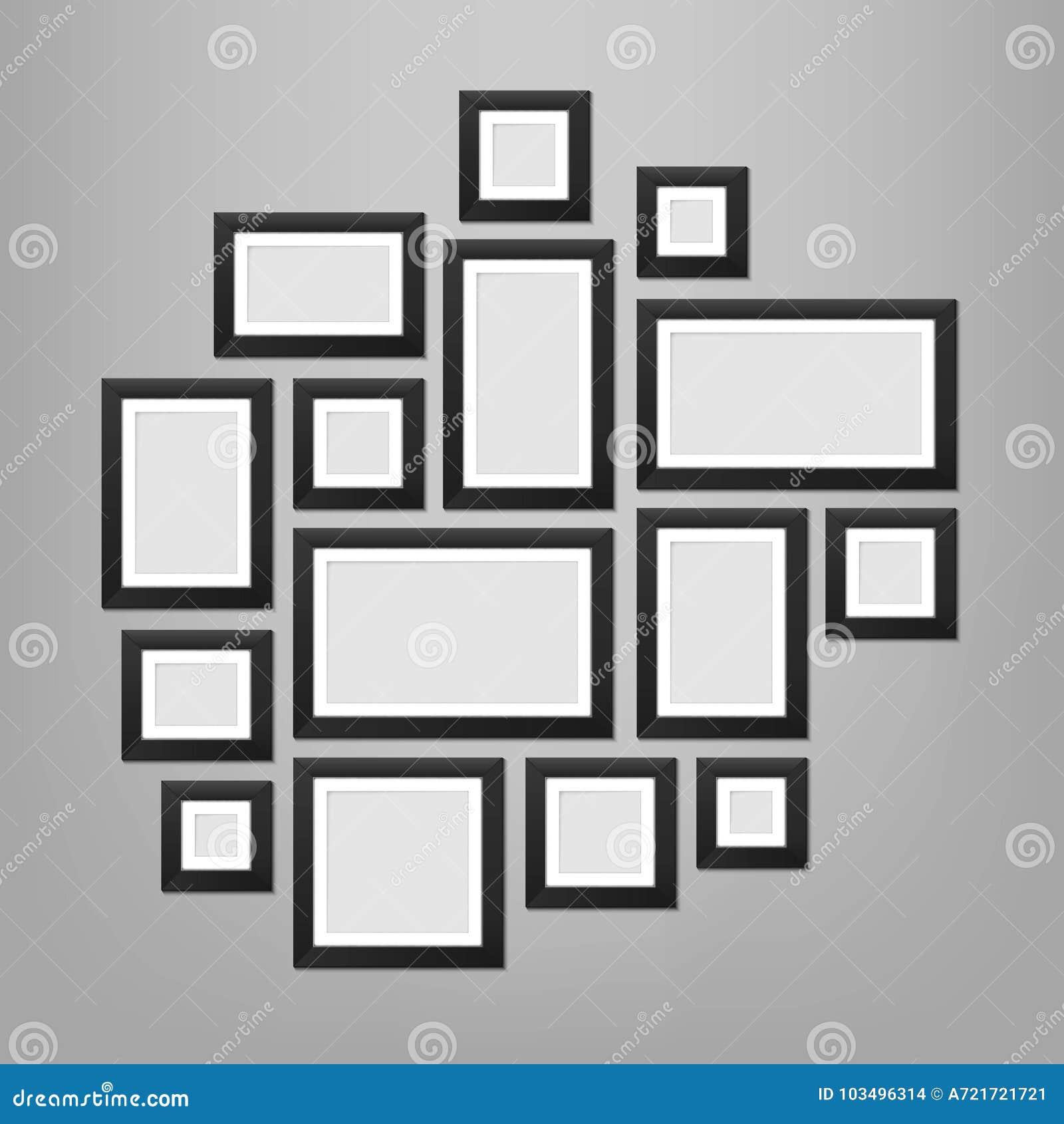Ilustração criativa do vetor do molde das molduras para retrato da parede isolado no fundo Foto da placa do projeto da arte Grap