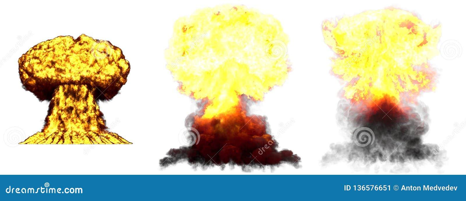 Ilustração 3D da explosão - explosão diferente muito altamente detalhada grande do cogumelo atômico de 3 fases da bomba de fusão