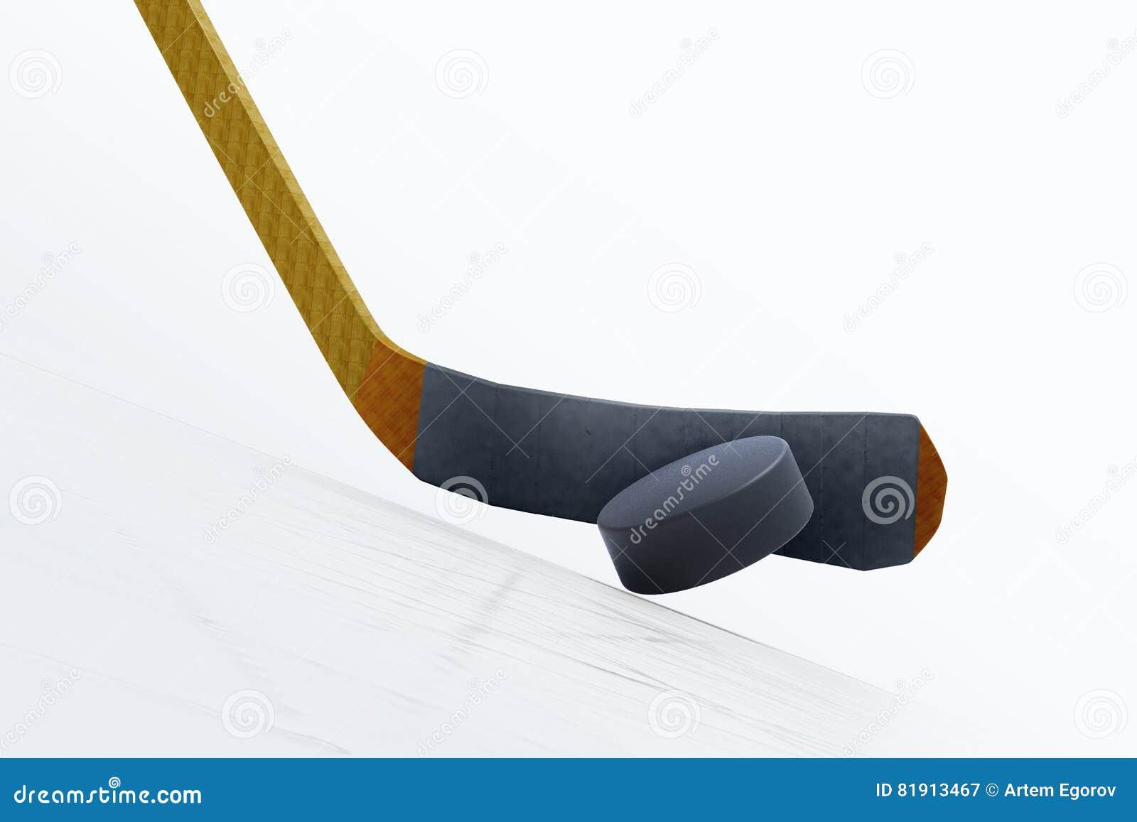 Ilustração 3d da vara de hóquei e do disco de flutuação no gelo