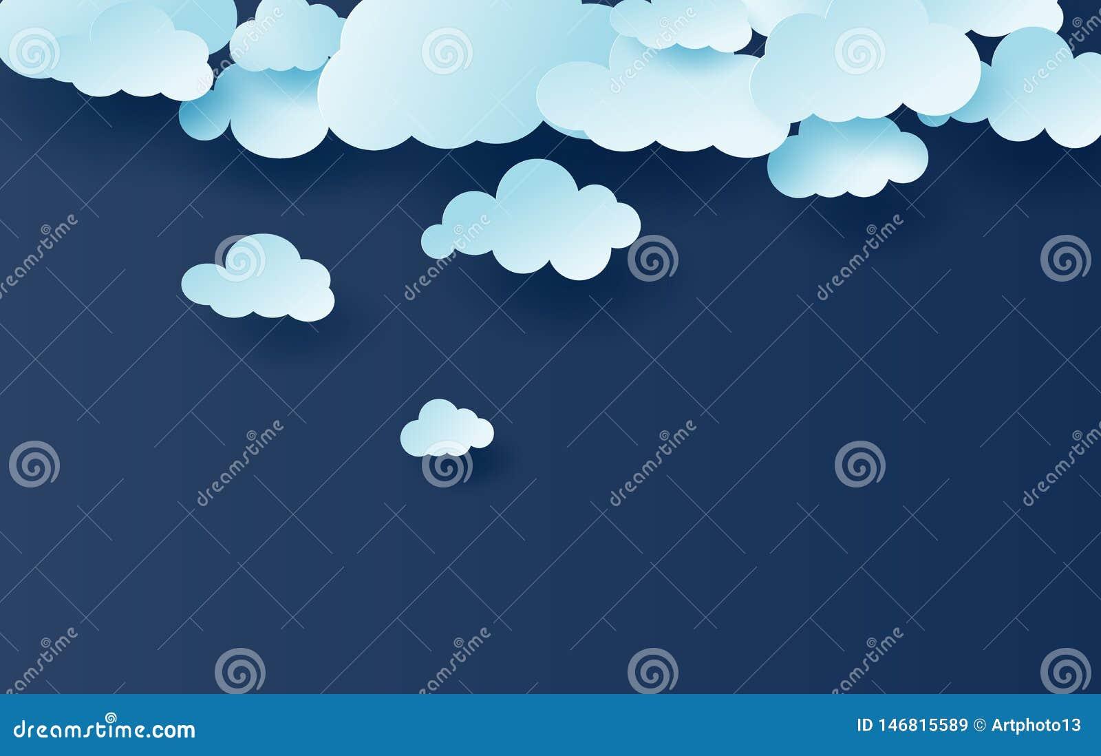 Ilustração 3D de claro - vetor branco do teste padrão das nuvens do céu azul Projeto criativo simples com corte do papel do cloud