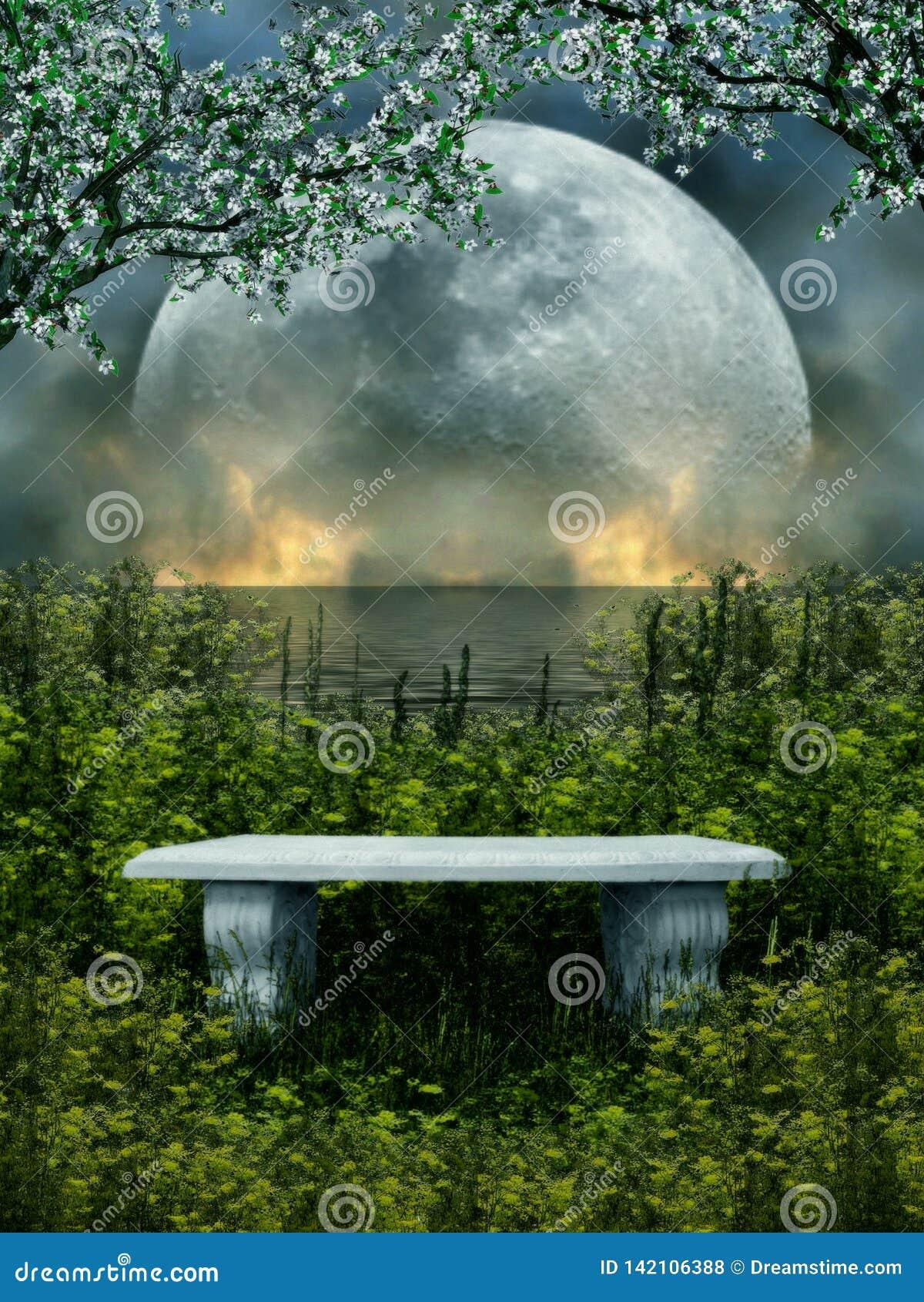 Ilustração 3D de um assento de pedra isolado com natureza e lua no fundo