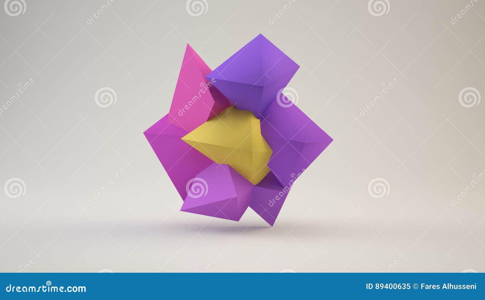 Ilustração 3d de uma baixa forma poli da flor