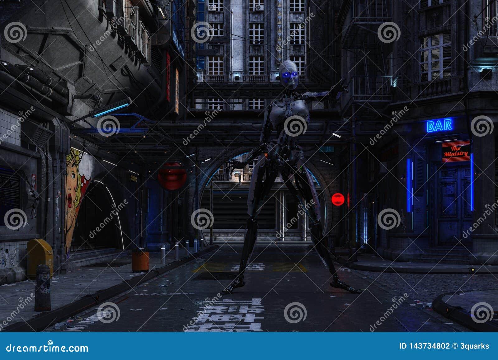Ilustração 3D de uma cena urbana futurista com Cyborg
