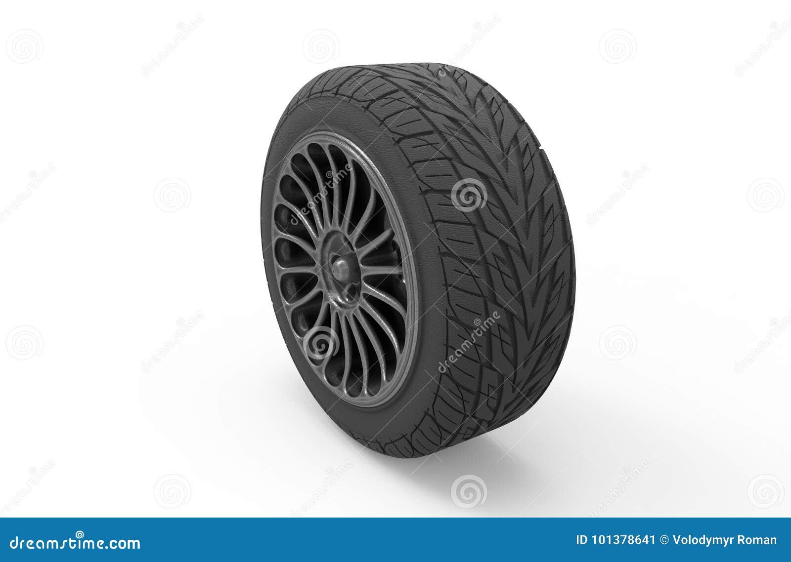 Ilustração 3d de uma roda de carro em um fundo branco