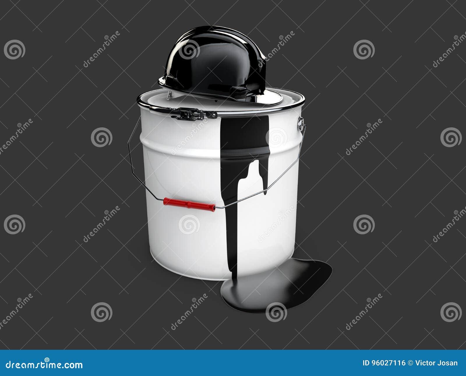Ilustração 3d do óleo do tambor com aldeola, preta