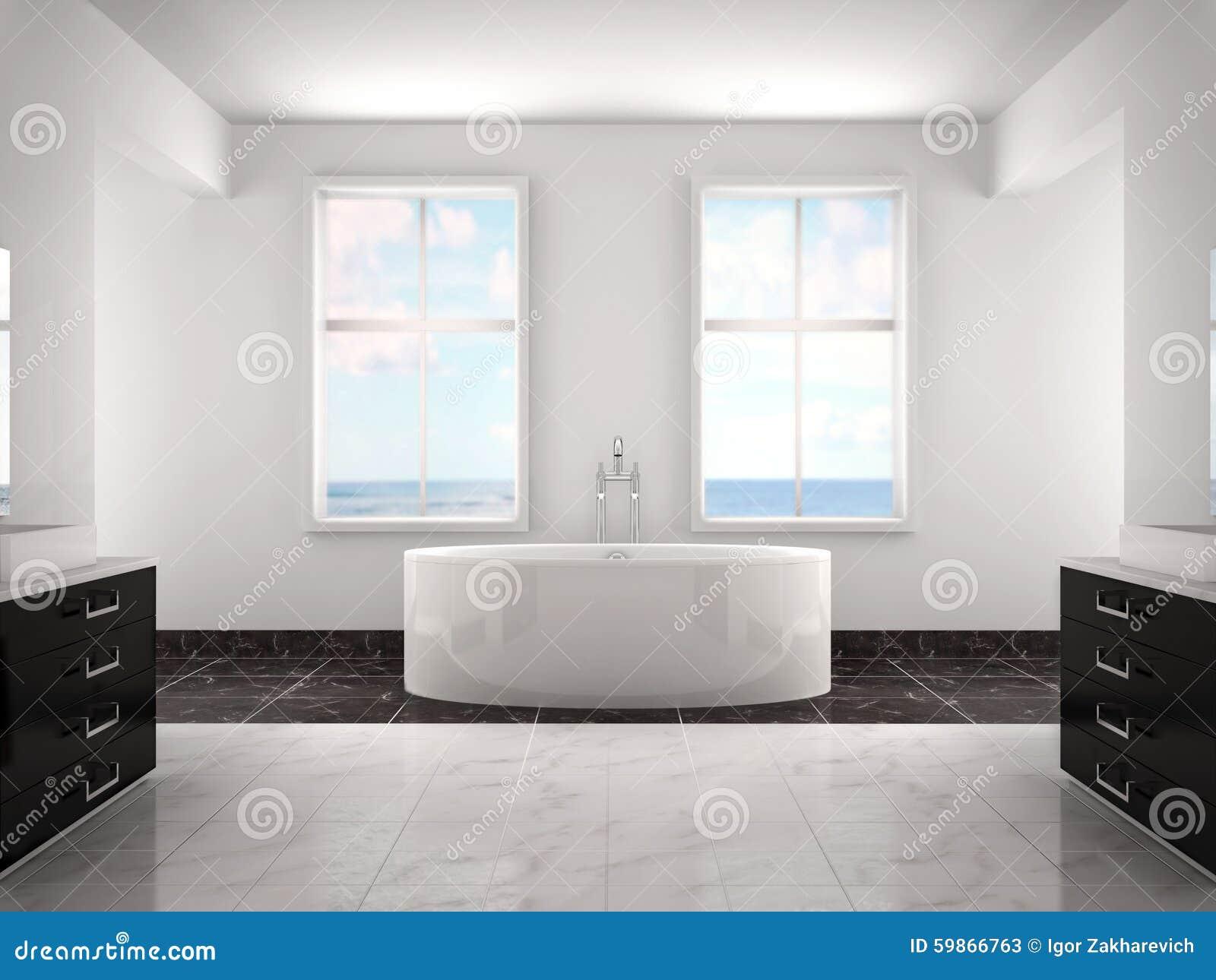 Ilustração 3d do banheiro luxuoso branco moderno