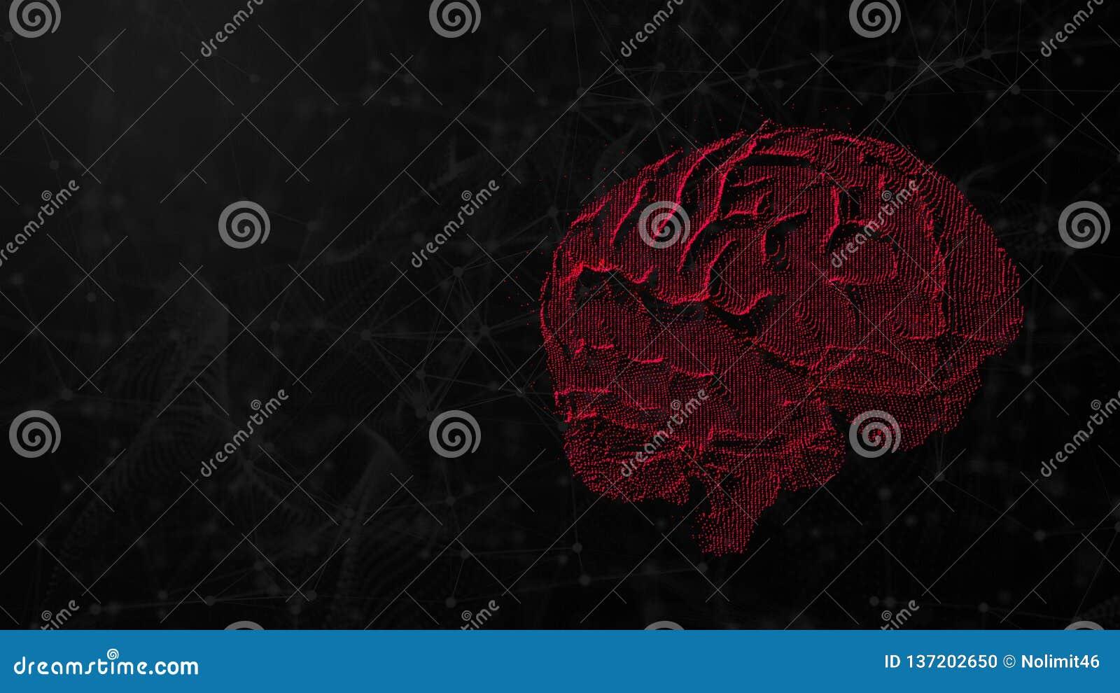 Ilustração 3d do cérebro digital no fundo futurista, no conceito da inteligência artificial e nas possibilidades de mente