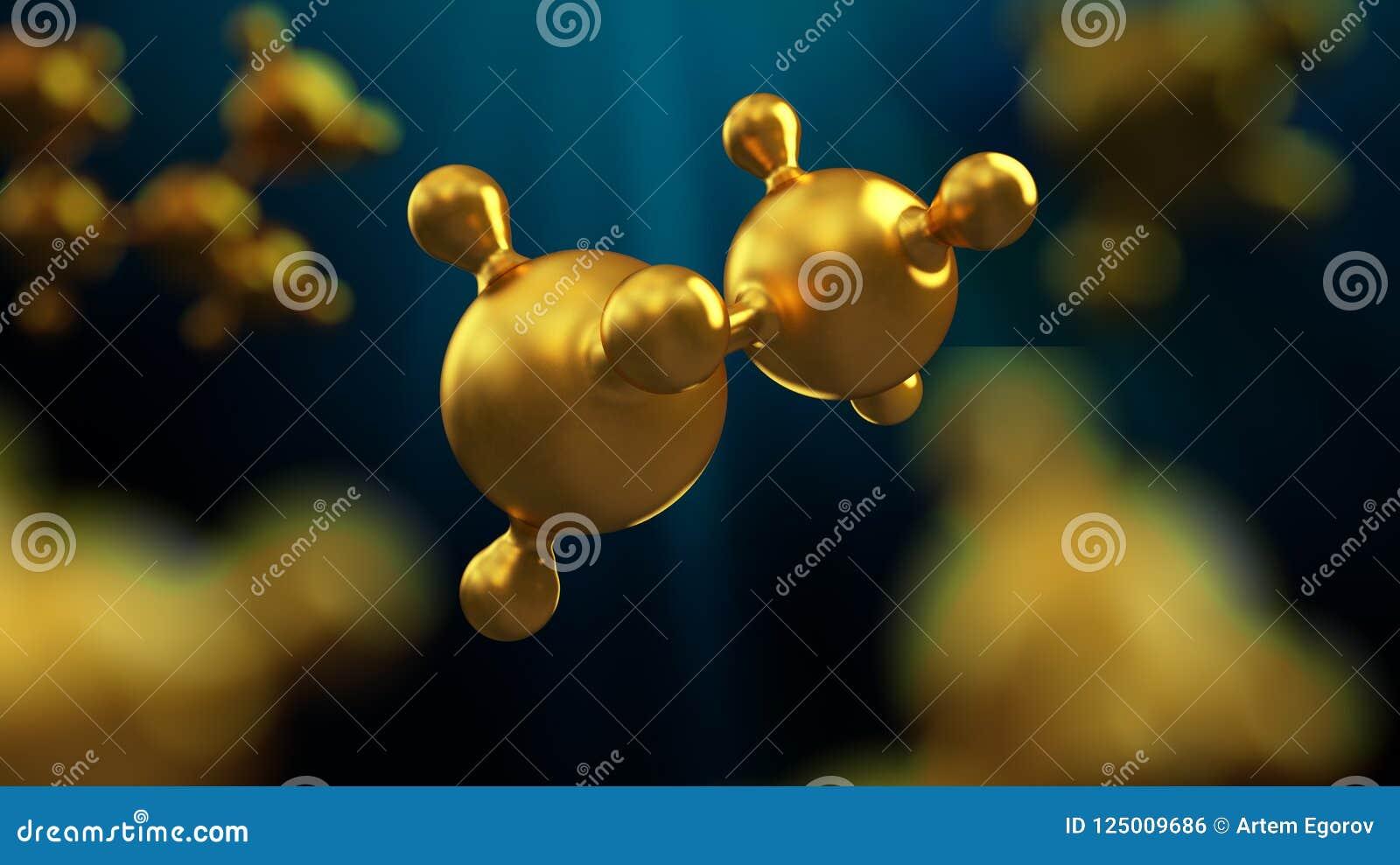 Ilustração 3D do fundo abstrato da molécula do metal do ouro