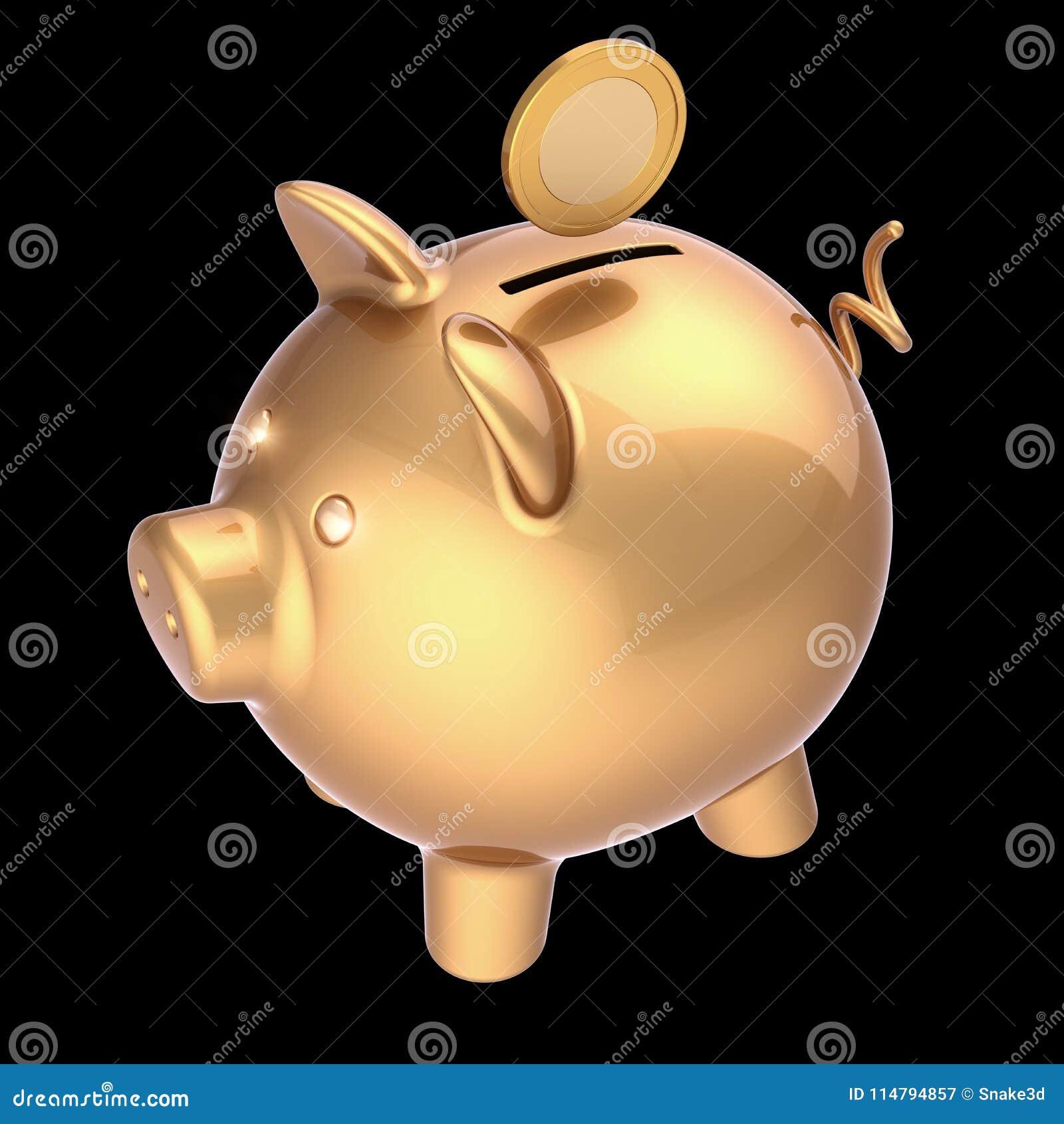 A ilustração 3d do mealheiro e a moeda dourada investem o símbolo rico