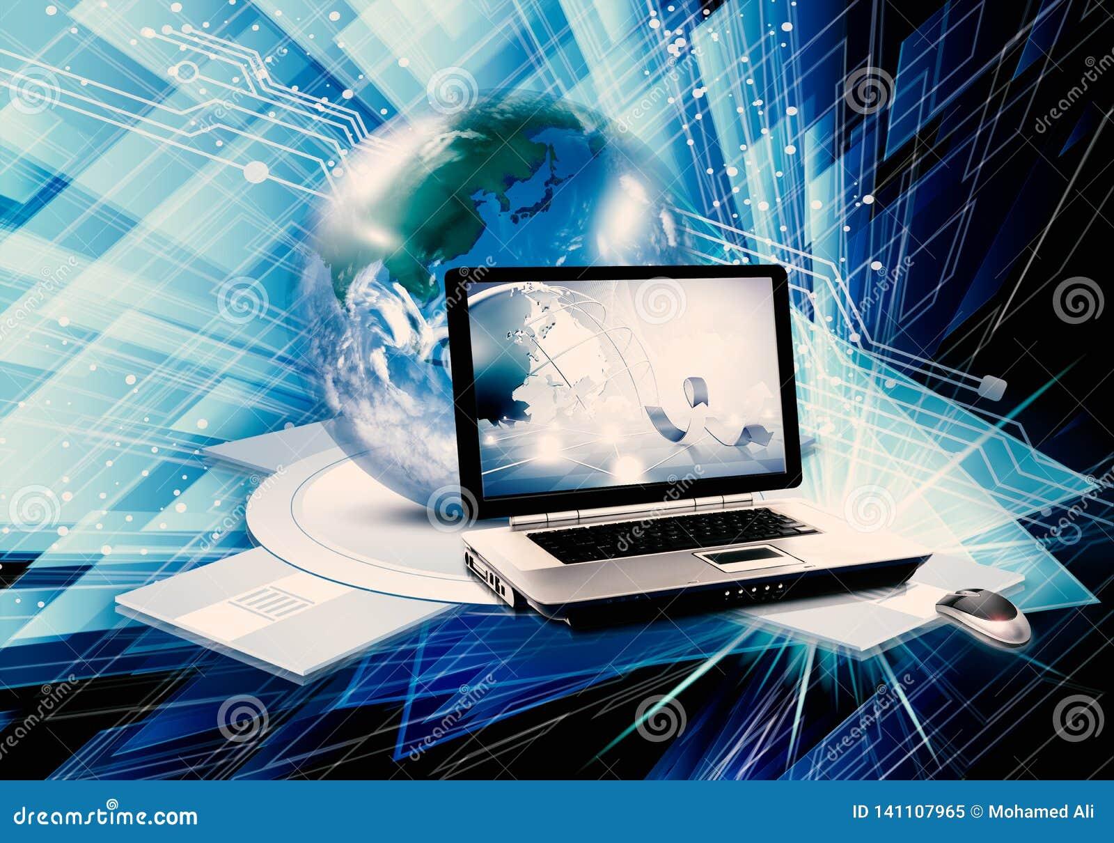 Ilustração 3d gerada por computador colorido do sumário artístico de um portátil e de um globo como um fundo tecnologico moderno