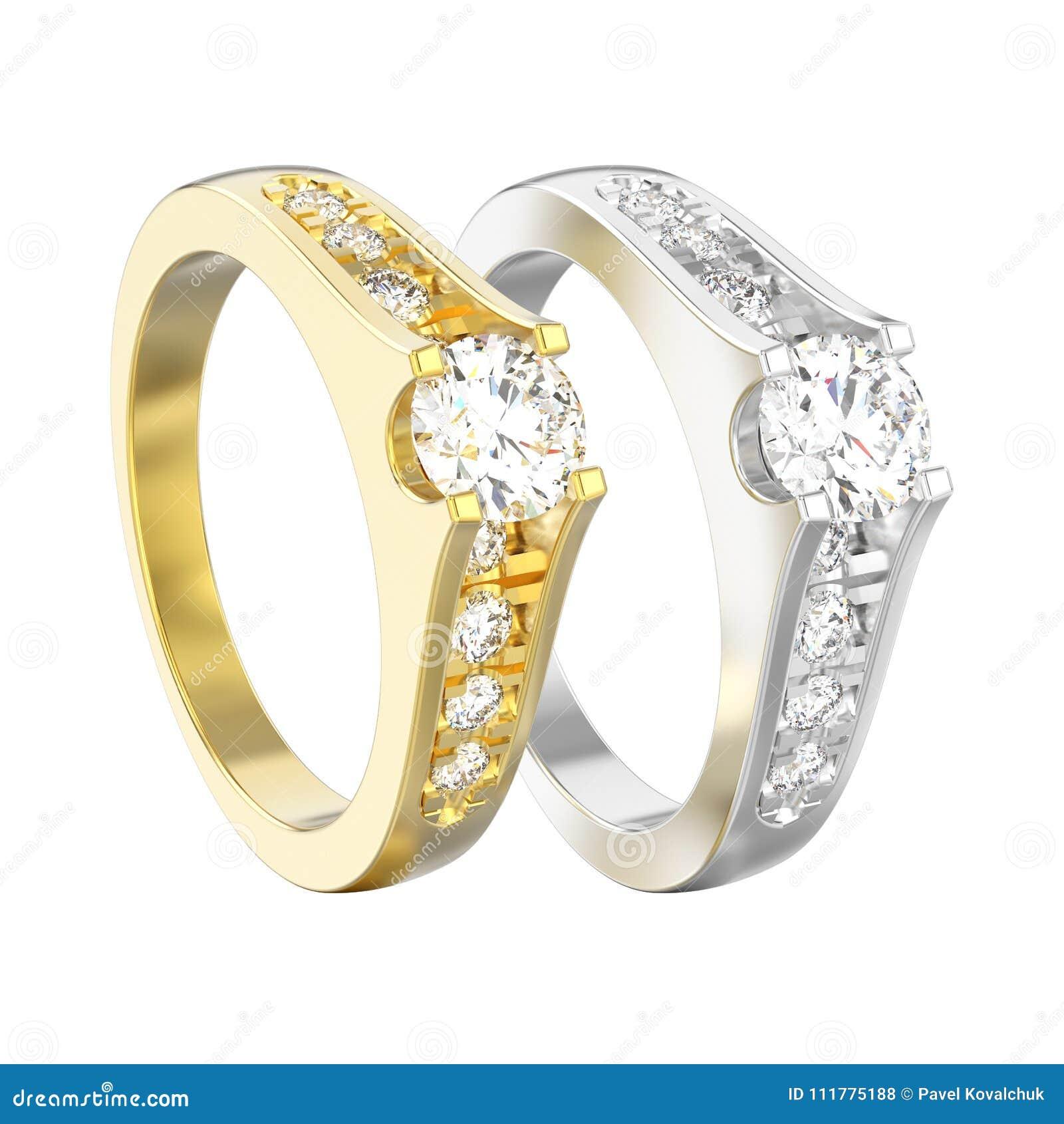 A ilustração 3D isolou dois amarelos e o ouro branco ou a prata dezembro