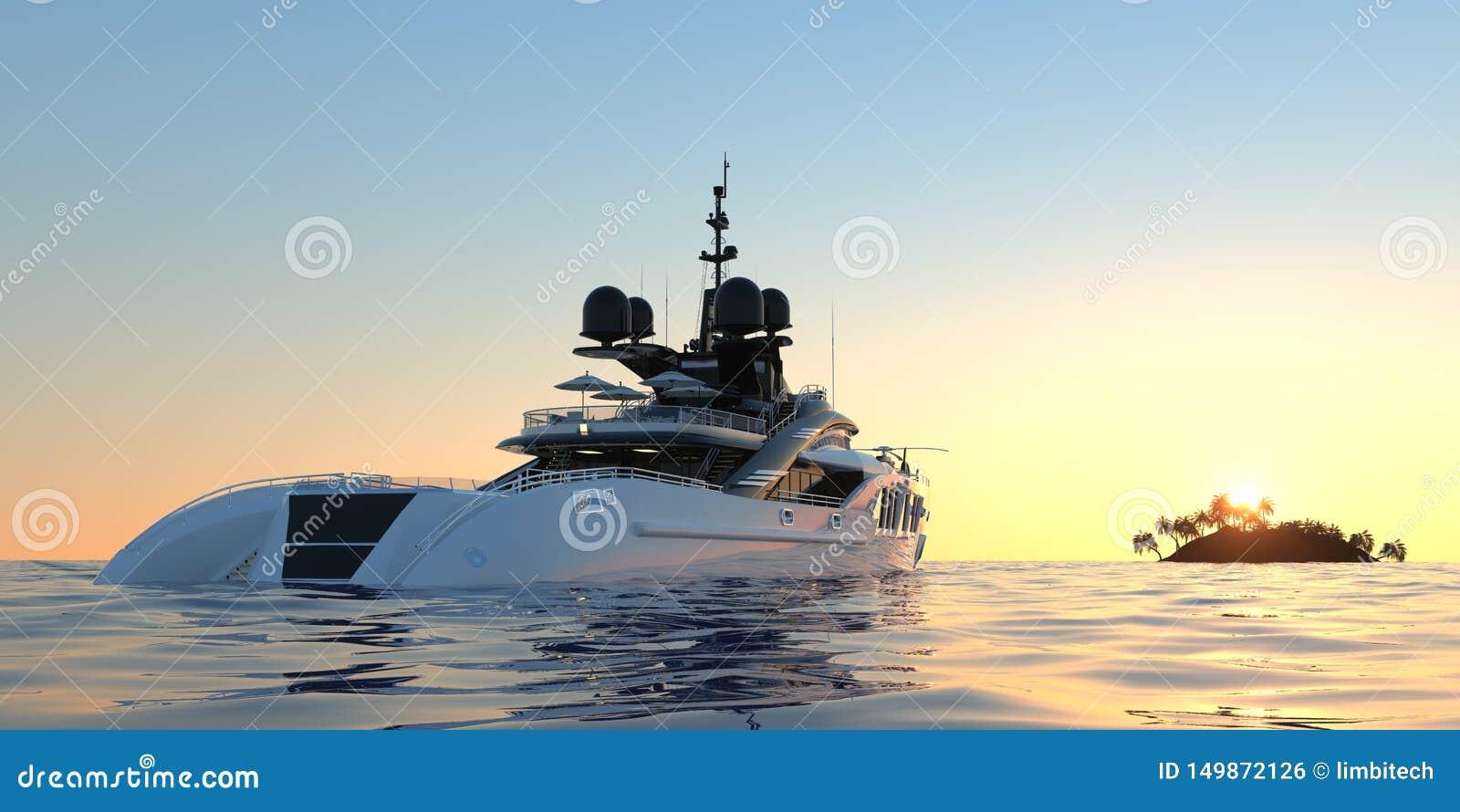 Ilustração 3d photorealistic de alta resolução extremamente detalhada e realística de um iate super luxuoso