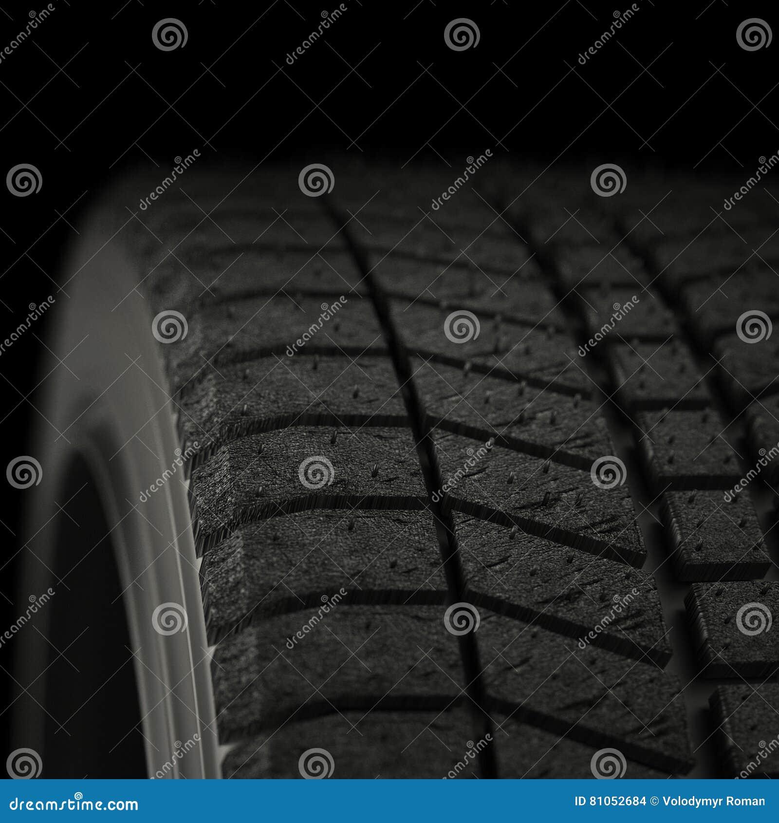 A ilustração 3d pneus de um inverno fecha-se acima