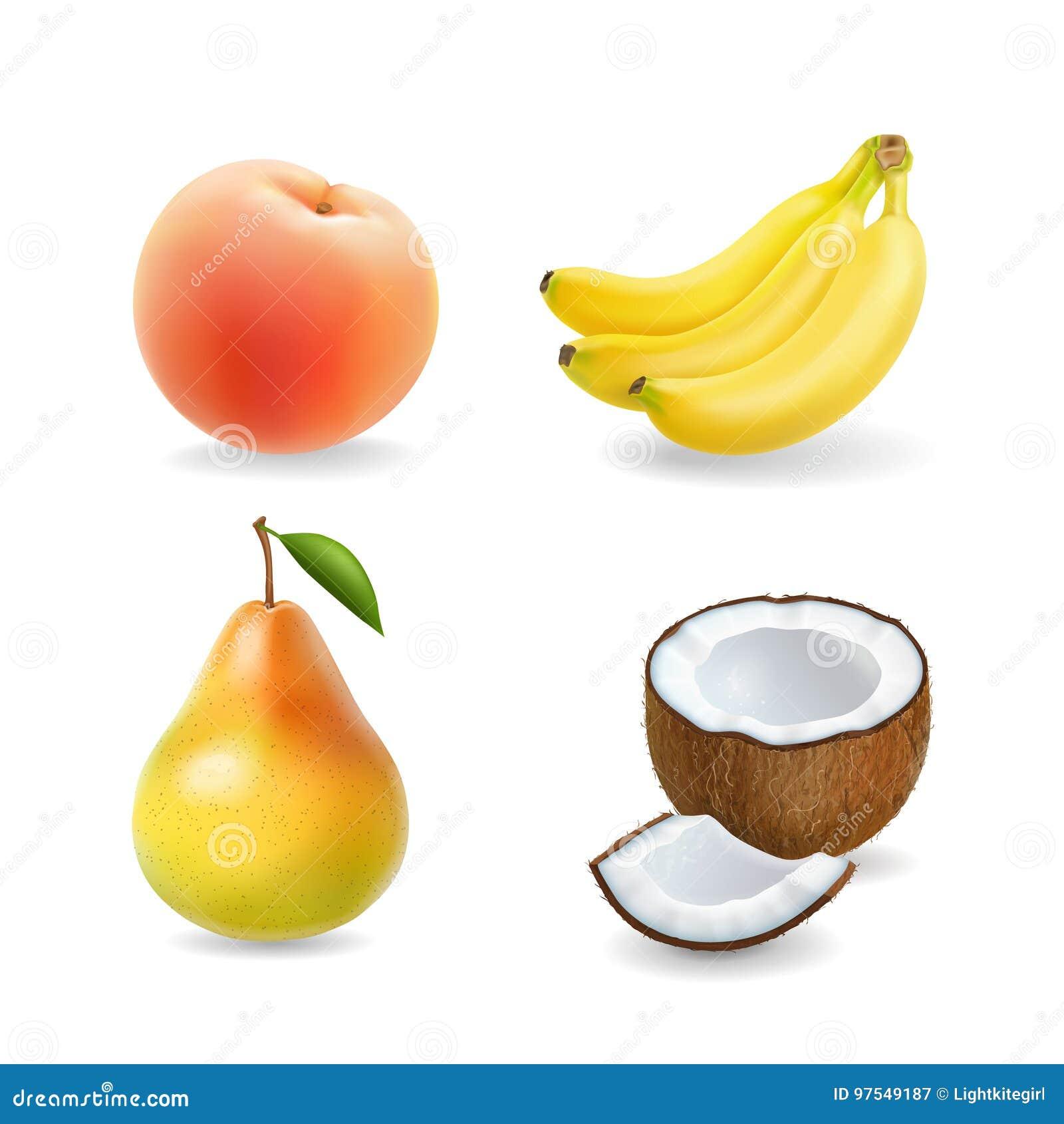 Ilustração 3d realística ajustada do fruto Banana, pera, coco, abricó, pêssego