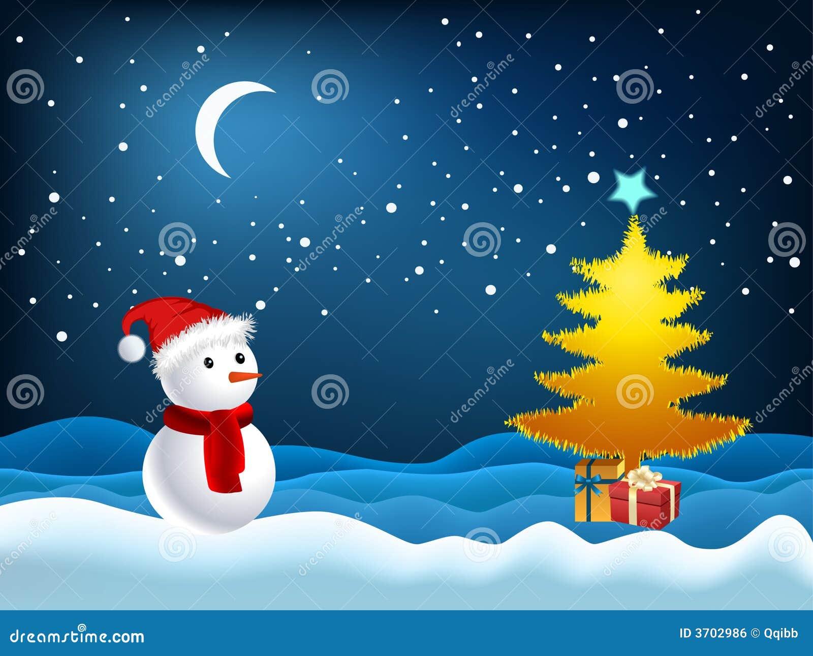 Ilustração da árvore e do boneco de neve do Xmas