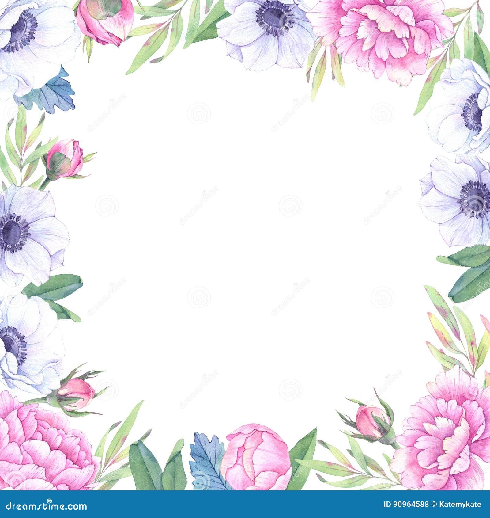 Ilustração da aguarela Frame floral com flores da mola Weddi