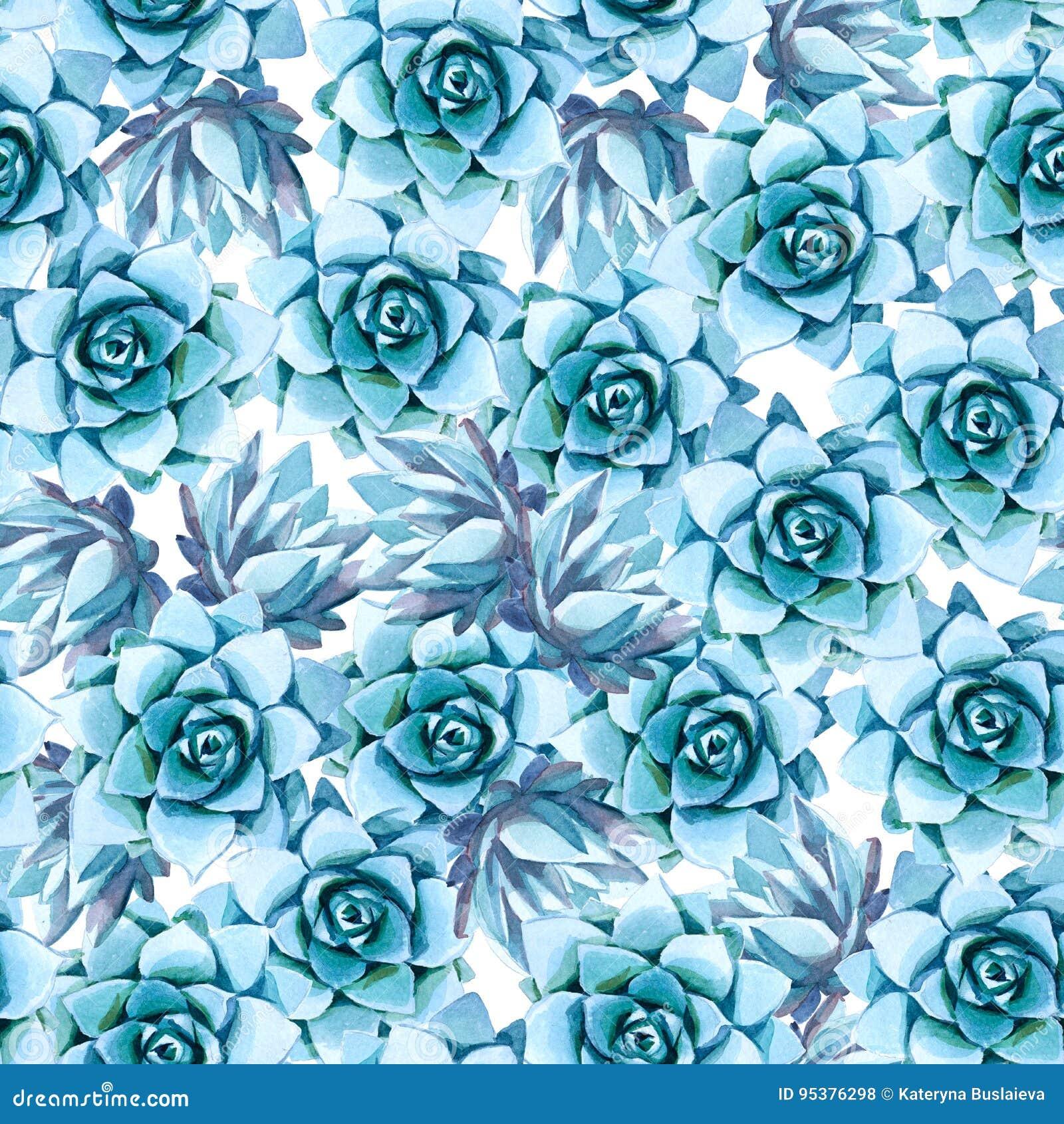 Ilustração da aguarela Teste padrão sem emenda da planta carnuda azul