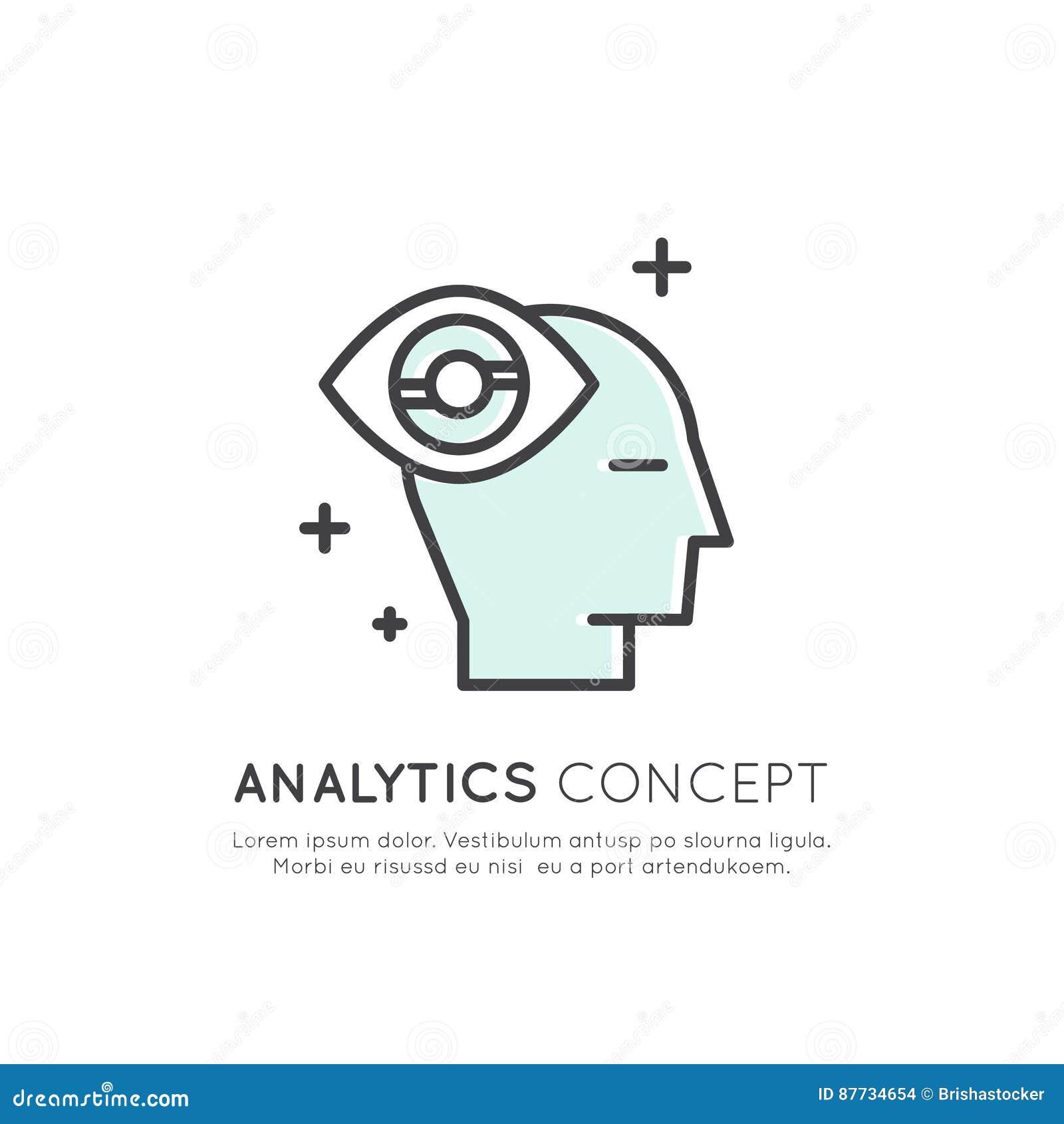 Ilustração da analítica, gestão, habilidade de pensamento do negócio, tomada de decisão, gestão de tempo, memória, Sitemap, conce