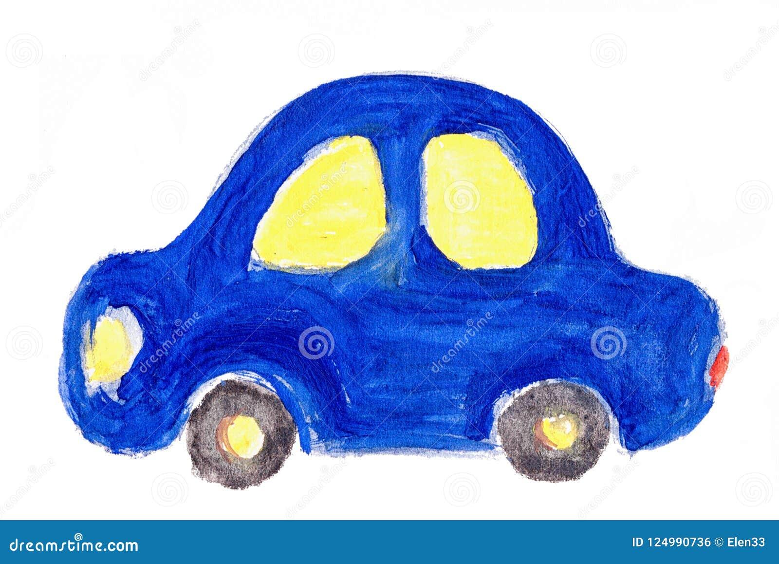 Ilustracao Da Aquarela Do Carro Do Desenho Do S Da Crianca