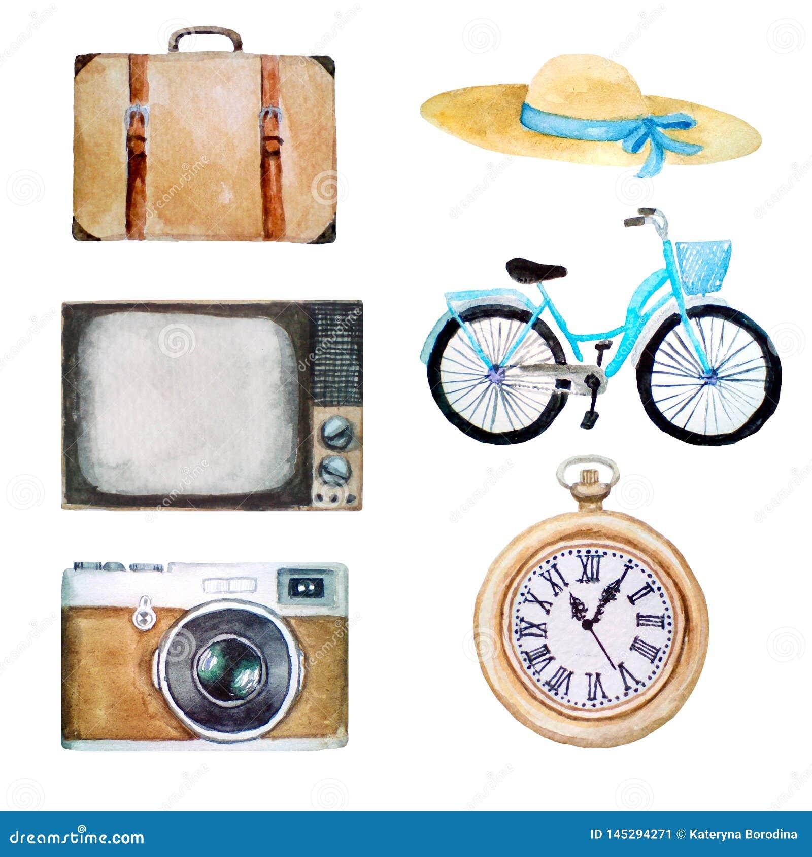 Ilustração da aquarela dos objetos retros do vintage, ícones velhos do chapéu, mala de viagem, tevê, bicicleta, câmera da f