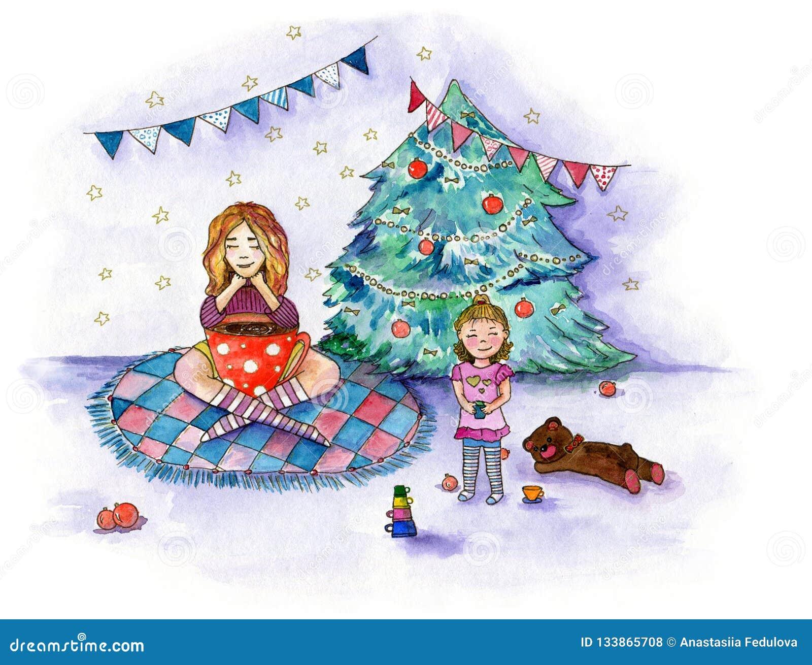 Ilustração da aquarela sobre o tea party da família em dezembro perto da árvore de Natal