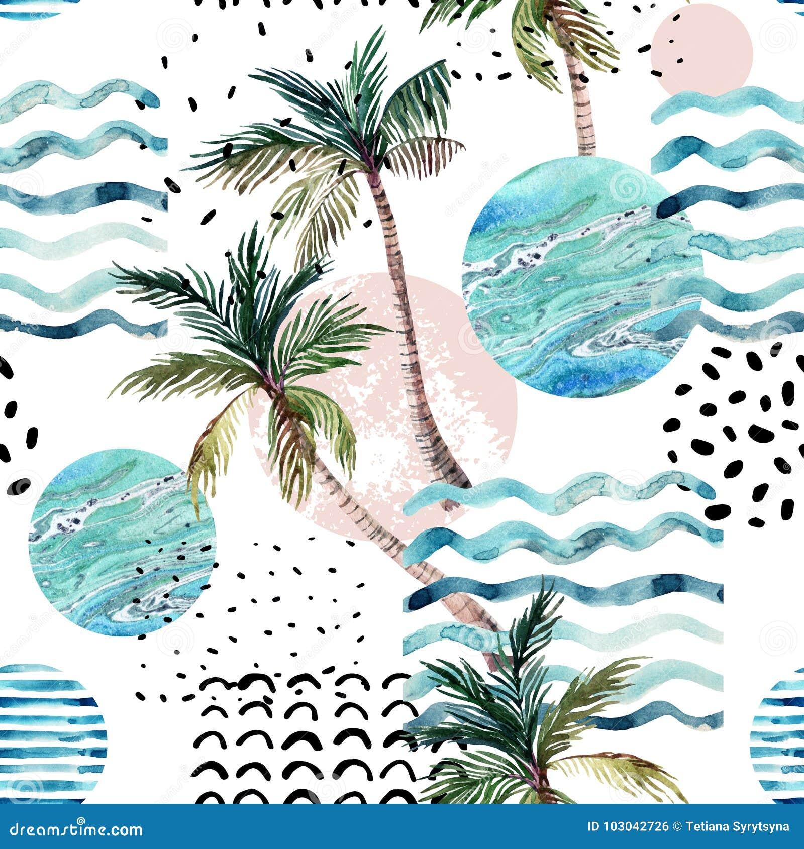 Ilustração da arte com palmeira, garatuja e texturas do grunge do mármore