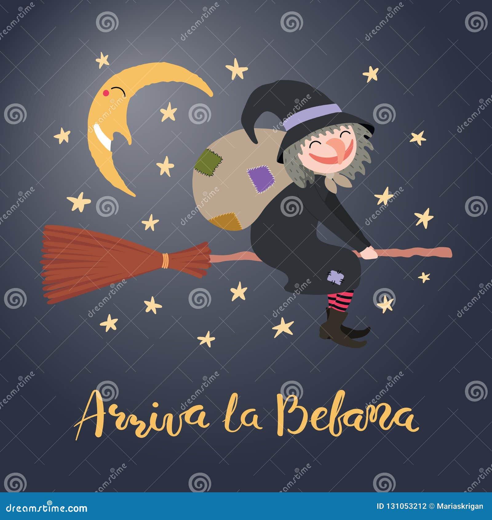 Ilustração da bruxa, citações do esmagamento no italiano