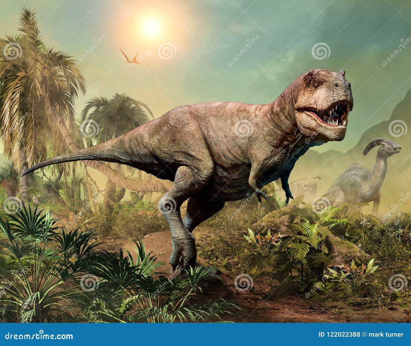 Ilustração da cena 3D do rex do tiranossauro