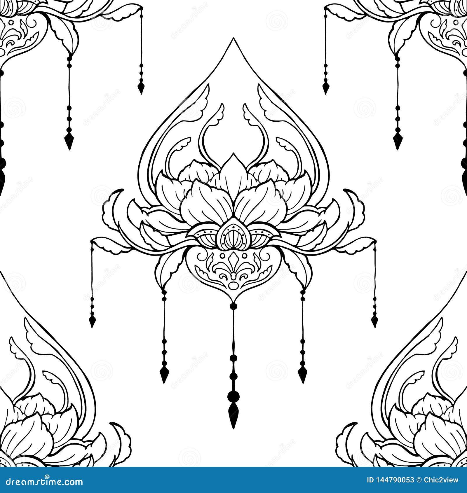 Ilustracao Da Flor De Lotus De Mehndi Para A Decoracao Do Elemento