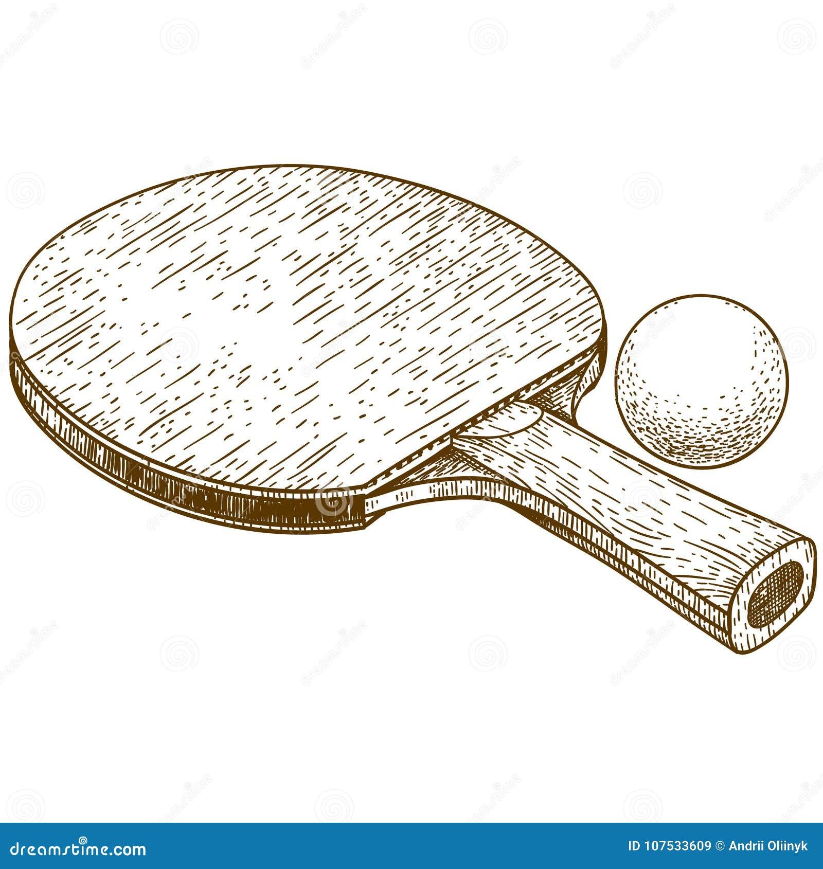 8f70ccbce Vector a ilustração antiga da gravura da raquete e da bola de tênis de mesa  do pong do sibilo isoladas no fundo branco